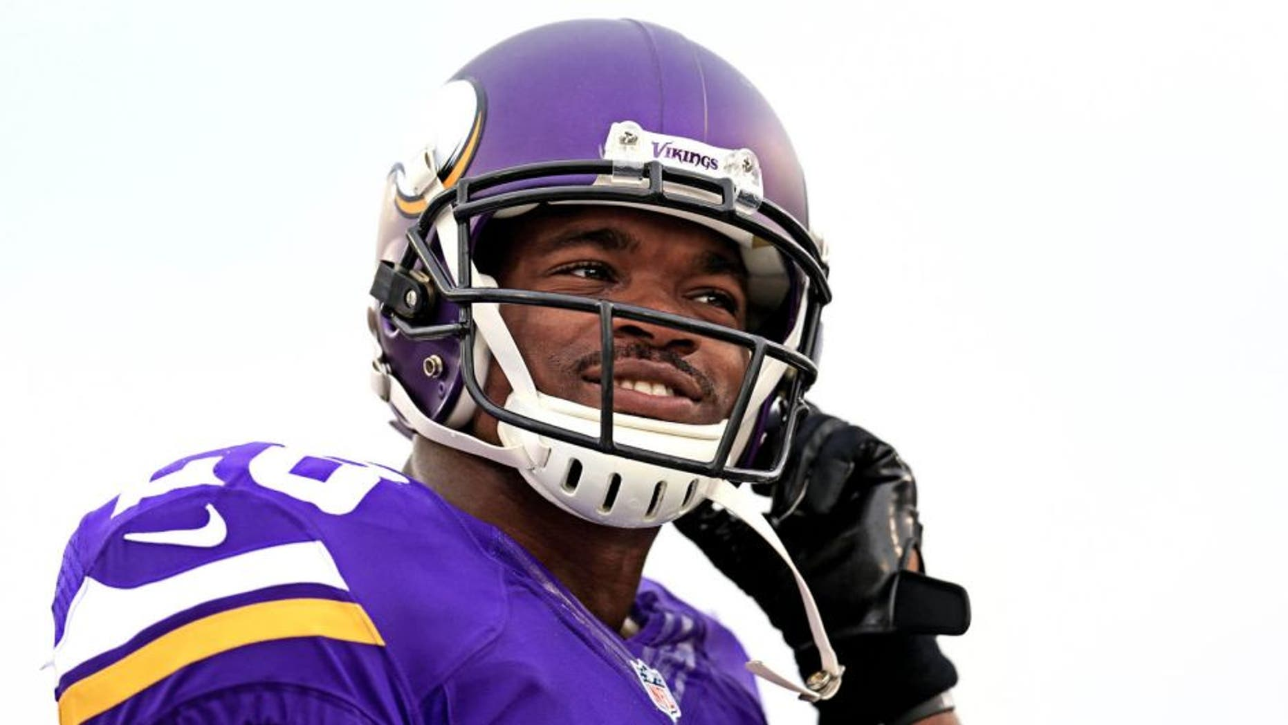 Minnesota Vikings running back Adrian Peterson looks on prior to the preseason game against the Pittsburgh Steelers at Tom Benson Hall of Fame Stadium on Aug. 9, 2015.