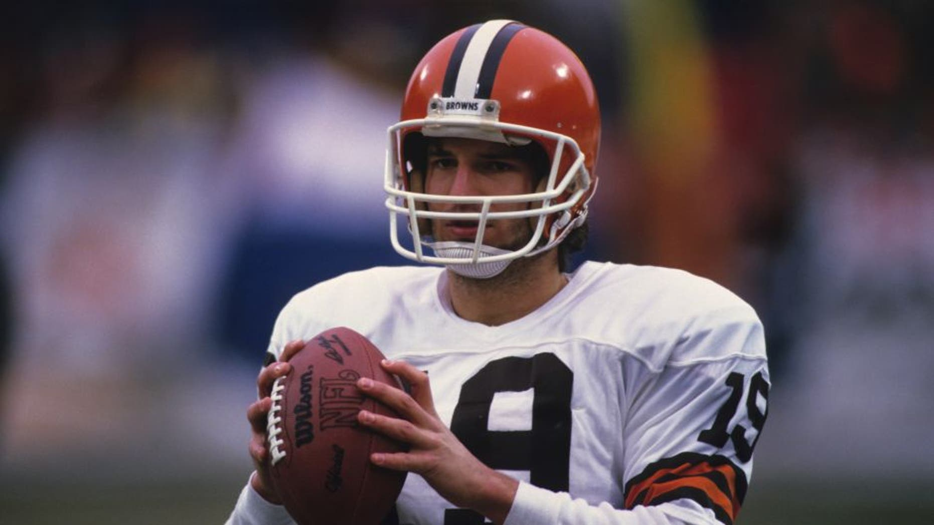 CLEVELAND - 1985: Quarterback Bernie Kosar of the Cleveland Browns looks on from the field before a National Football League game at Municipal Stadium circa 1985 in Cleveland, Ohio. (Photo by George Gojkovich/Getty Images) *** Local Caption *** Bernie Kosar;