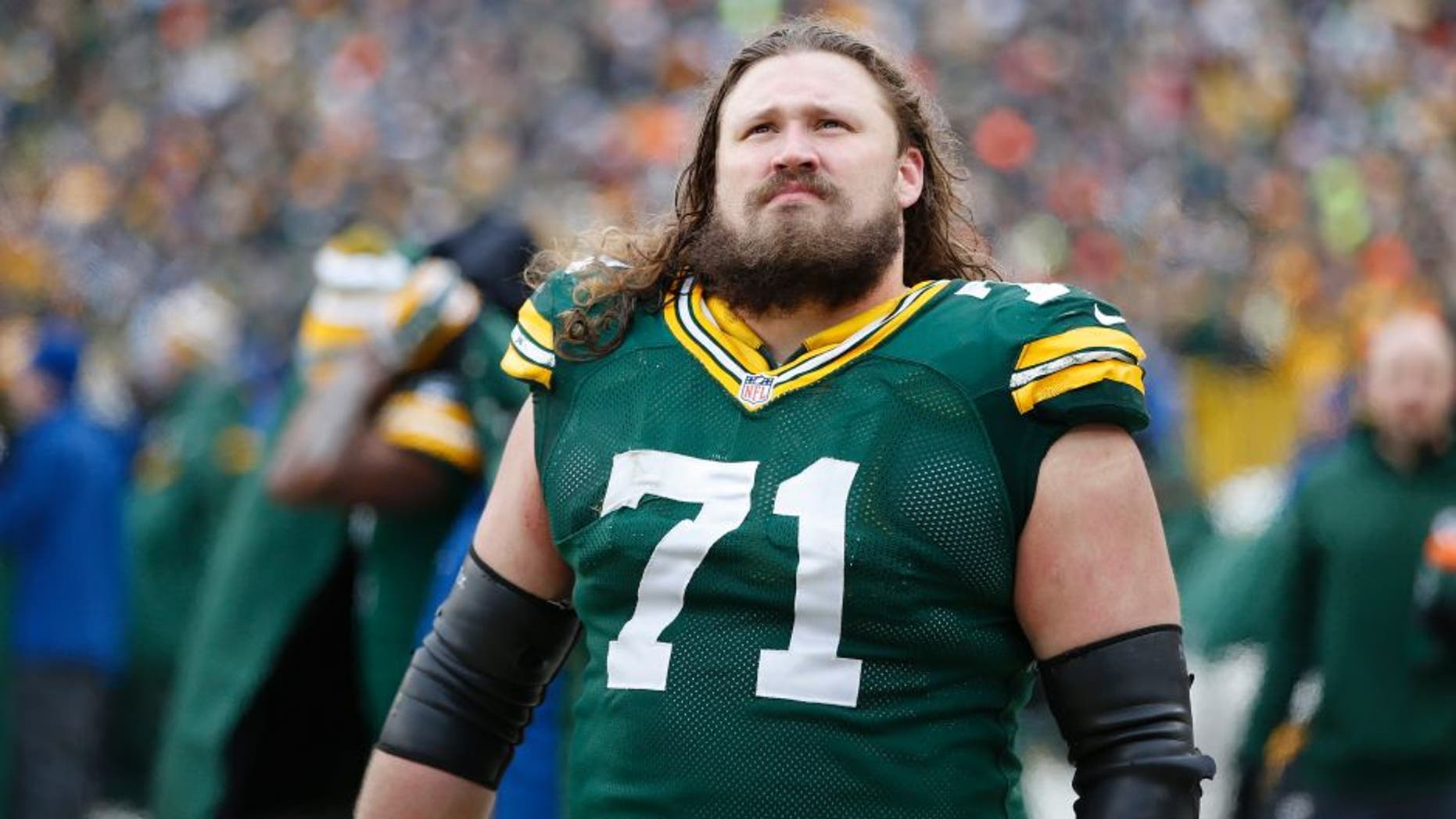 GREEN BAY, WI - JANUARY 11: Josh Sitton #71 of the Green Bay Packers looks on against the Dallas Cowboys during the NFC Divisional Playoff game at Lambeau Field on January 11, 2015 in Green Bay, Wisconsin. The Packers defeated the Cowboys 26-21. (Photo by Joe Robbins/Getty Images)
