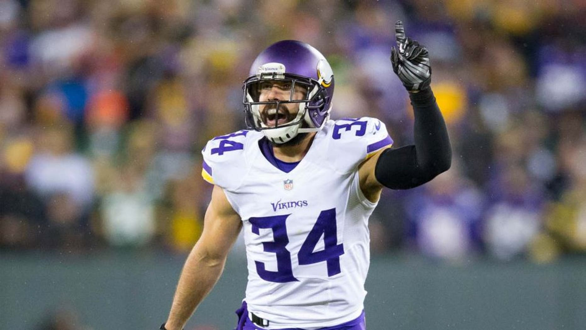 Minnesota Vikings safety Andrew Sendejo celebrates a play during the game against the Green Bay Packers at Lambeau Field in Green Bay, Wis., on Jan. 3, 2016.