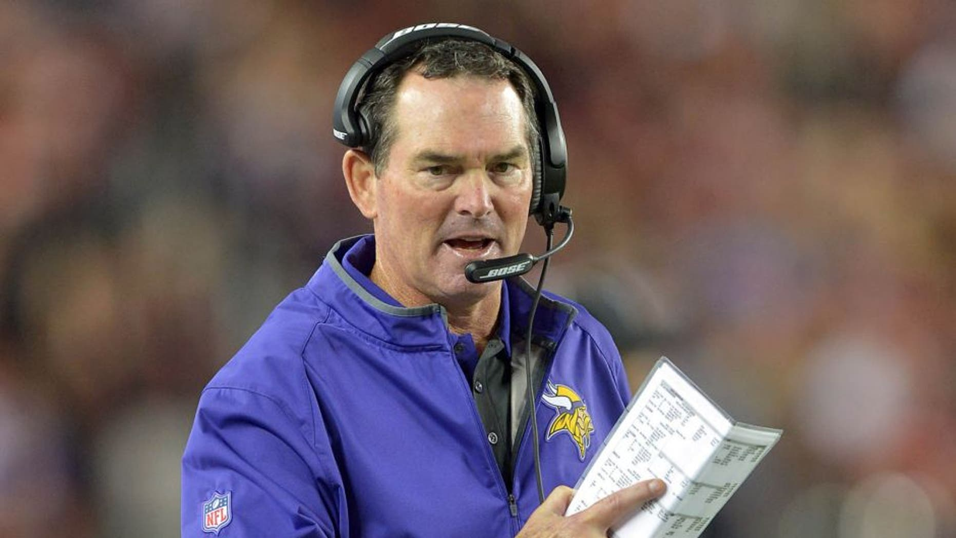 Minnesota Vikings coach Mike Zimmer reacts during the game against the San Francisco 49ers at Levi's Stadium in Santa Clara, Calif., on Monday, Sept. 14, 2015.