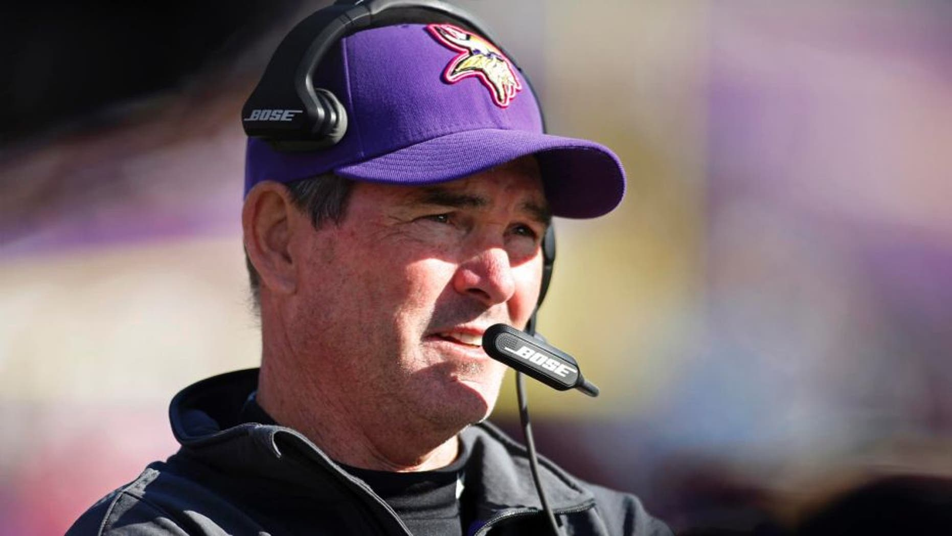 Oct 12, 2014; Minneapolis, MN, USA; Minnesota Vikings head coach Mike Zimmer watches as his team plays the Detroit Lions at TCF Bank Stadium. The Lions win 17-3. Mandatory Credit: Bruce Kluckhohn-USA TODAY Sports