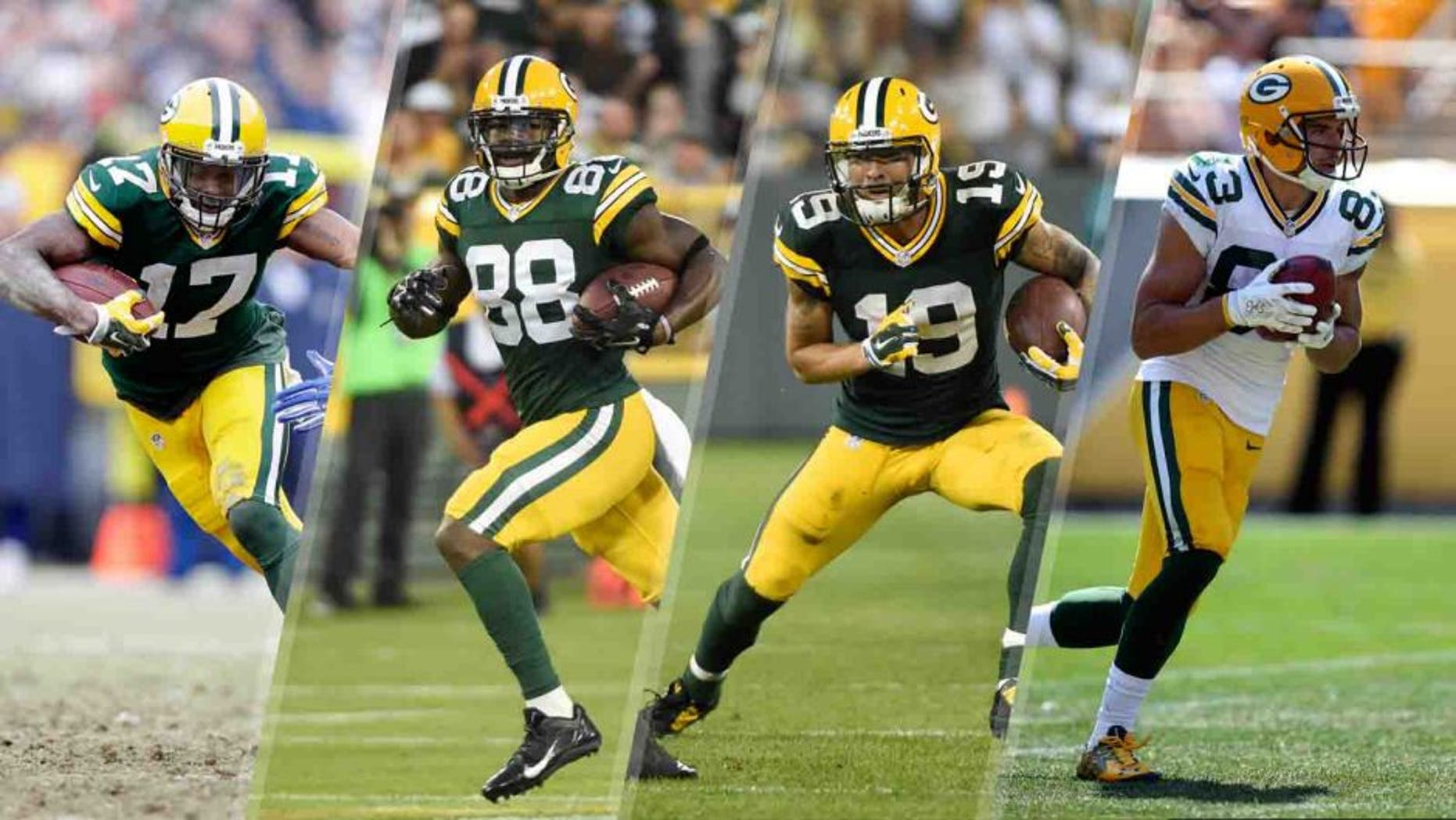 Four Green Bay Packers wide receivers who could see more action after preseason injuries to Jordy Nelson and Randall Cobb: from left to right, Davante Adams, Ty Montgomery, Myles White and Jeff Janis.