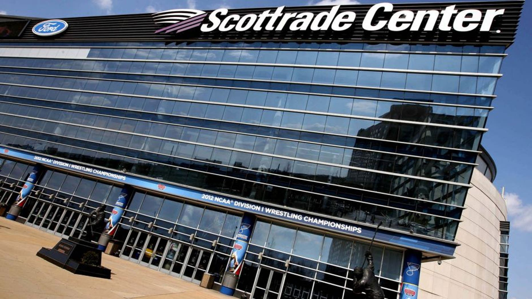 March 14, 2012; St. Louis, MO, USA; A general exterior view of the Scottrade Center a day prior to the 2012 division I wrestling championships. Mandatory Credit: Andrew Carpenean-USA TODAY Sports