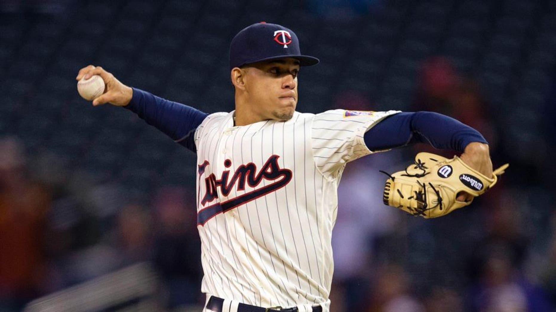 Apr 27, 2016; Minneapolis, MN, USA; Minnesota Twins starting pitcher Jose Berrios (17) delivers a pitch in the first inning against the Cleveland Indians at Target Field. Mandatory Credit: Jesse Johnson-USA TODAY Sports