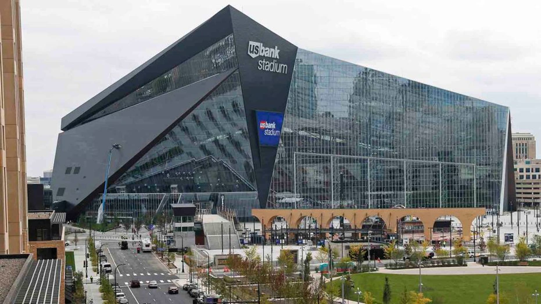 In this photo taken Thursday, Sept. 15, 2016, US Bank Stadium, the new home of the NFL Minnesota Vikings football team, is shown in Minneapolis. The Vikings will host the Green Bay Packers in the first regular season game in the new stadium Sunday, Sept. 18. The Vikings are expecting the $1.1 billion translucent building to be a significant advantage for them with 66,000 roaring fans packing the place all fall. (AP Photo/Jim Mone)