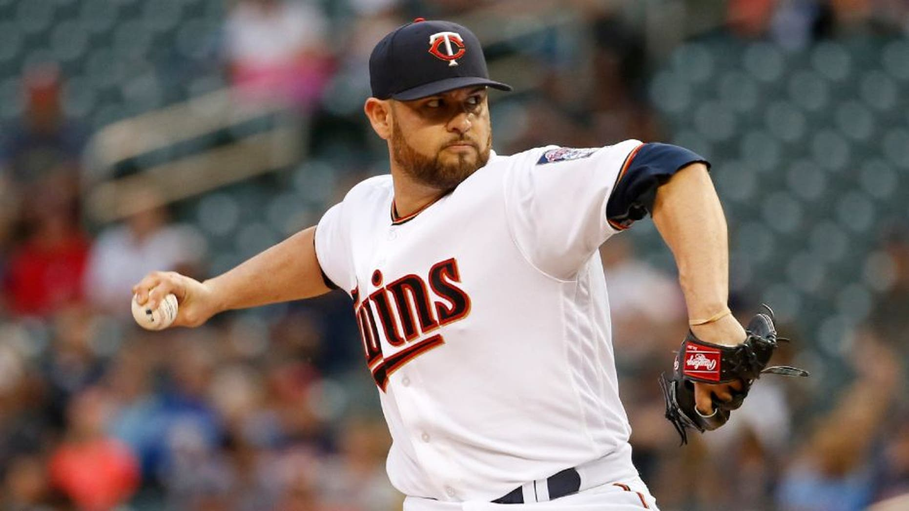Minnesota Twins starting pitcher Ricky Nolasco delivers to the Kansas City Royals during the first inning.