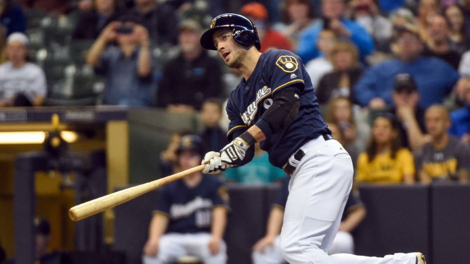 Milwaukee Brewers left fielder Ryan Braun (8) hits a double in the first inning against the Los Angeles Angels.