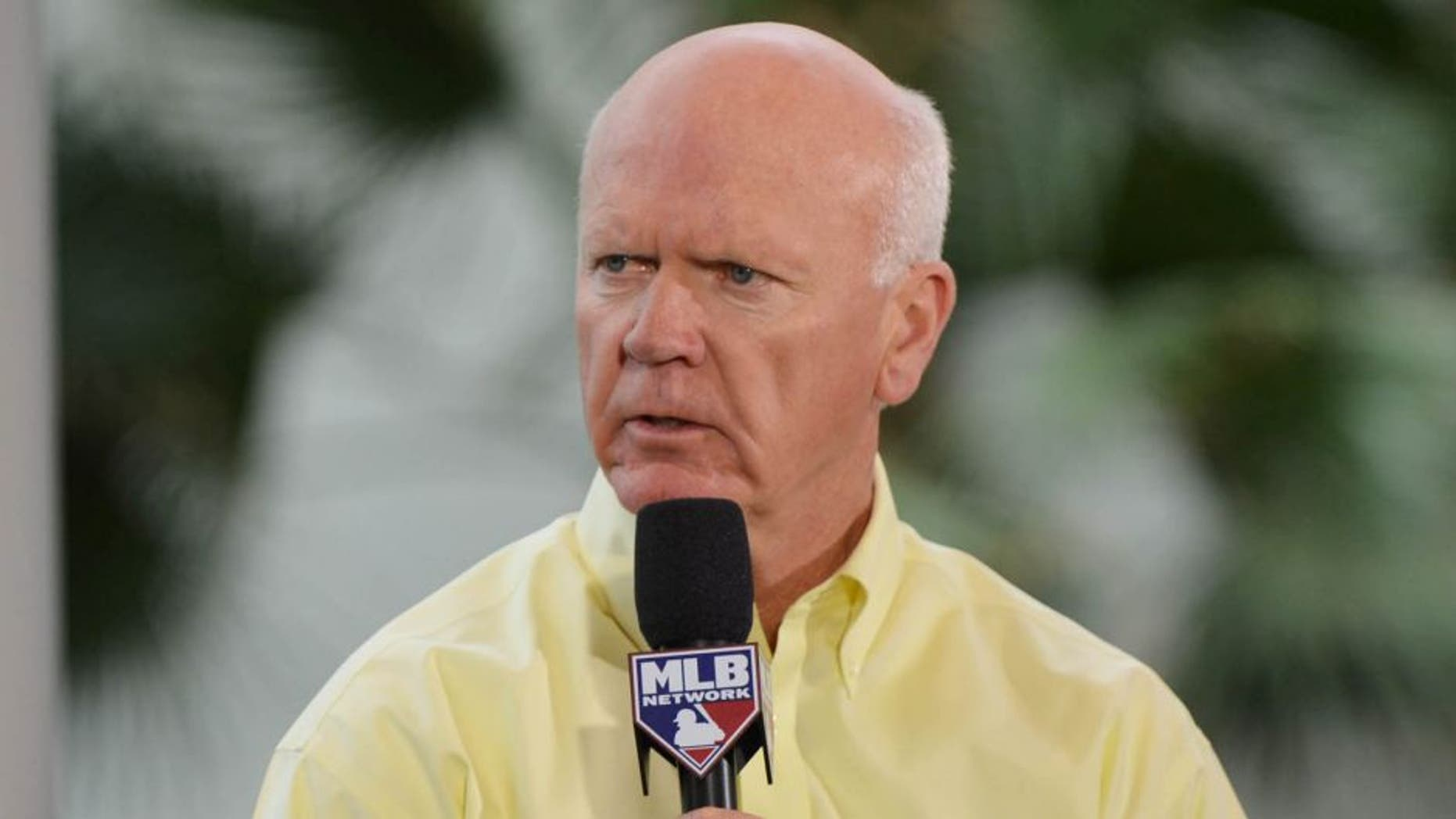 Dec 6, 2012; Nashville, TN, USA; Minnesota Twins general manager Terry Ryan is interviewed on the MLB Network during the Major League Baseball winter meetings at the Gaylord Opryland Hotel. Mandatory credit: Don McPeak-USA TODAY Sports