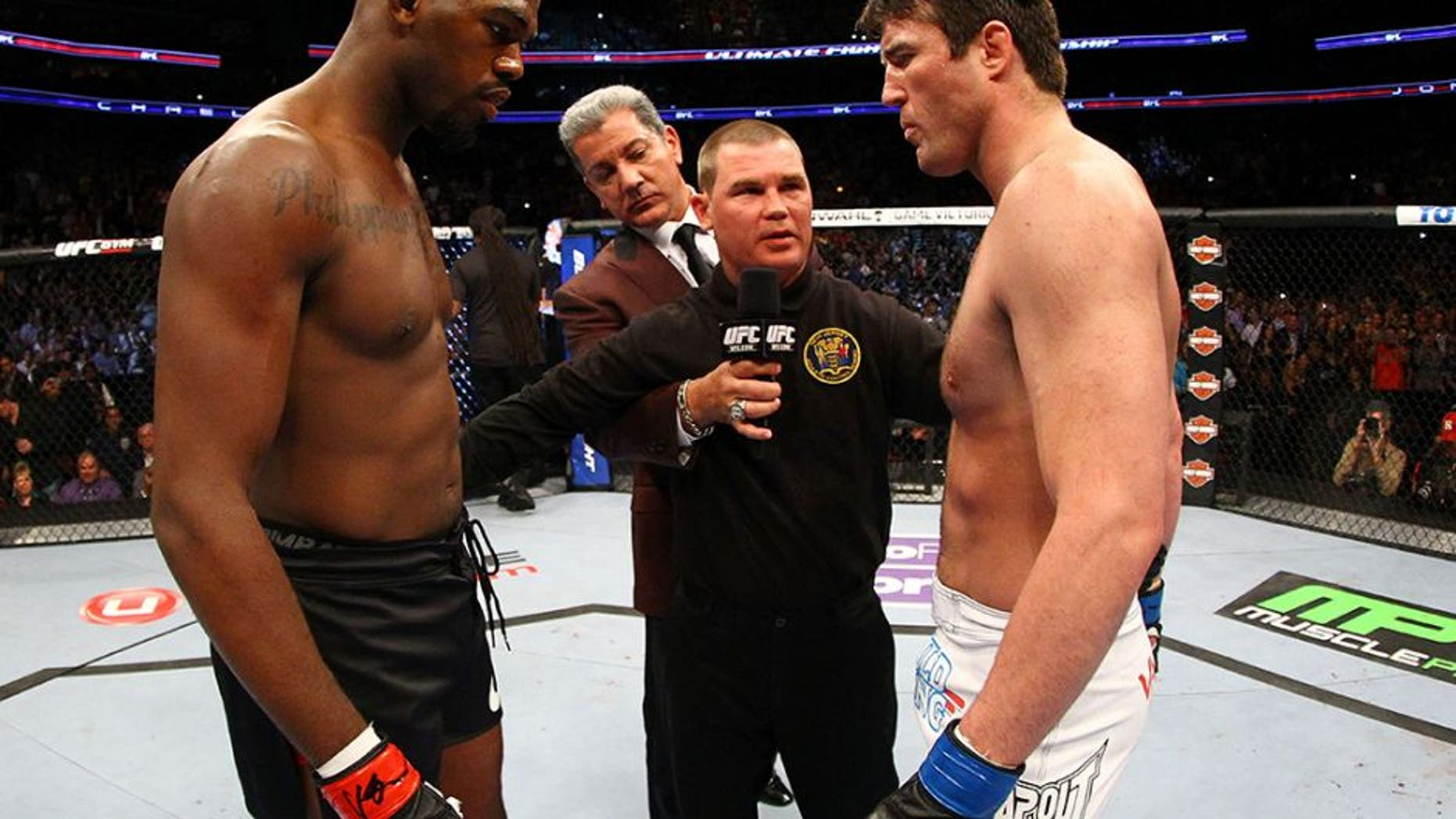 NEWARK, NJ - APRIL 27: Jon Jones and Chael Sonnen face off before their light heavyweight championship bout during the UFC 159 event at the Prudential Center on April 27, 2013 in Newark, New Jersey. (Photo by Al Bello/Zuffa LLC/Zuffa LLC Via Getty Images)