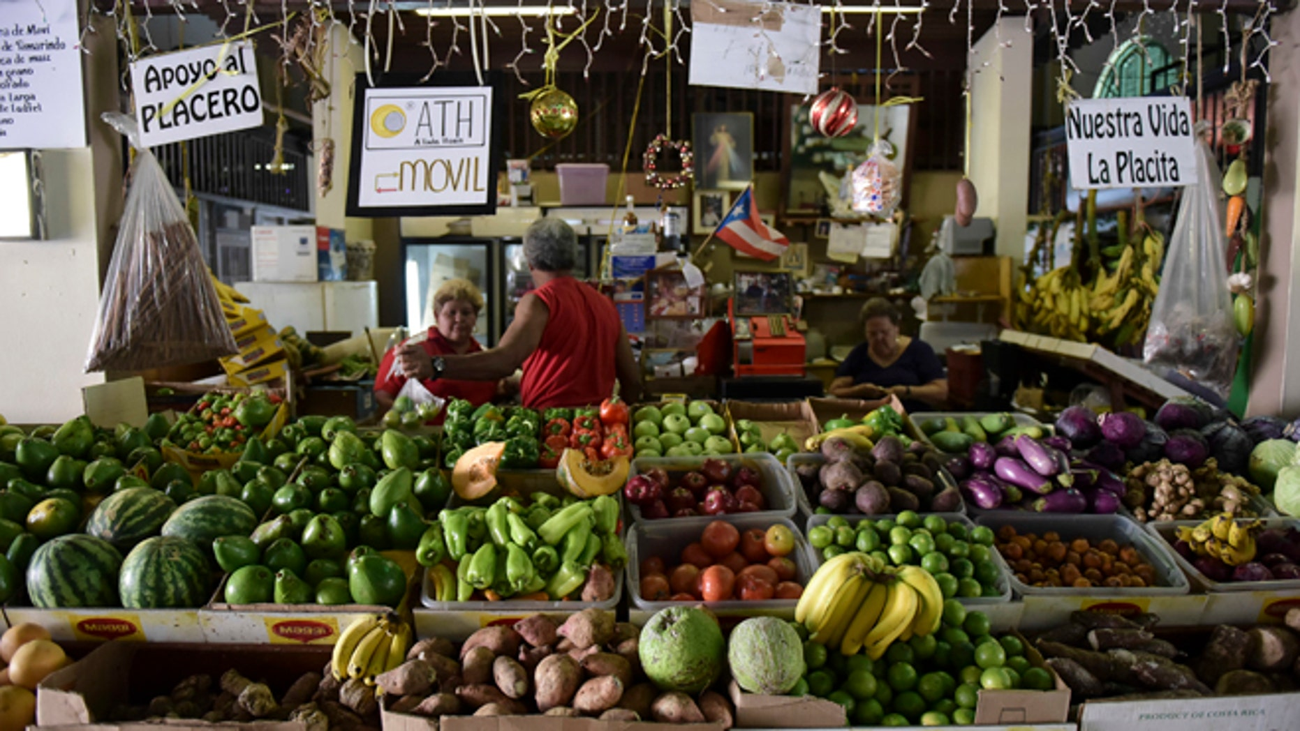 Produce stand at La Placita de Santurce farmers' market, which sells mostly locally grown produce in San Juan, Puerto Rico.