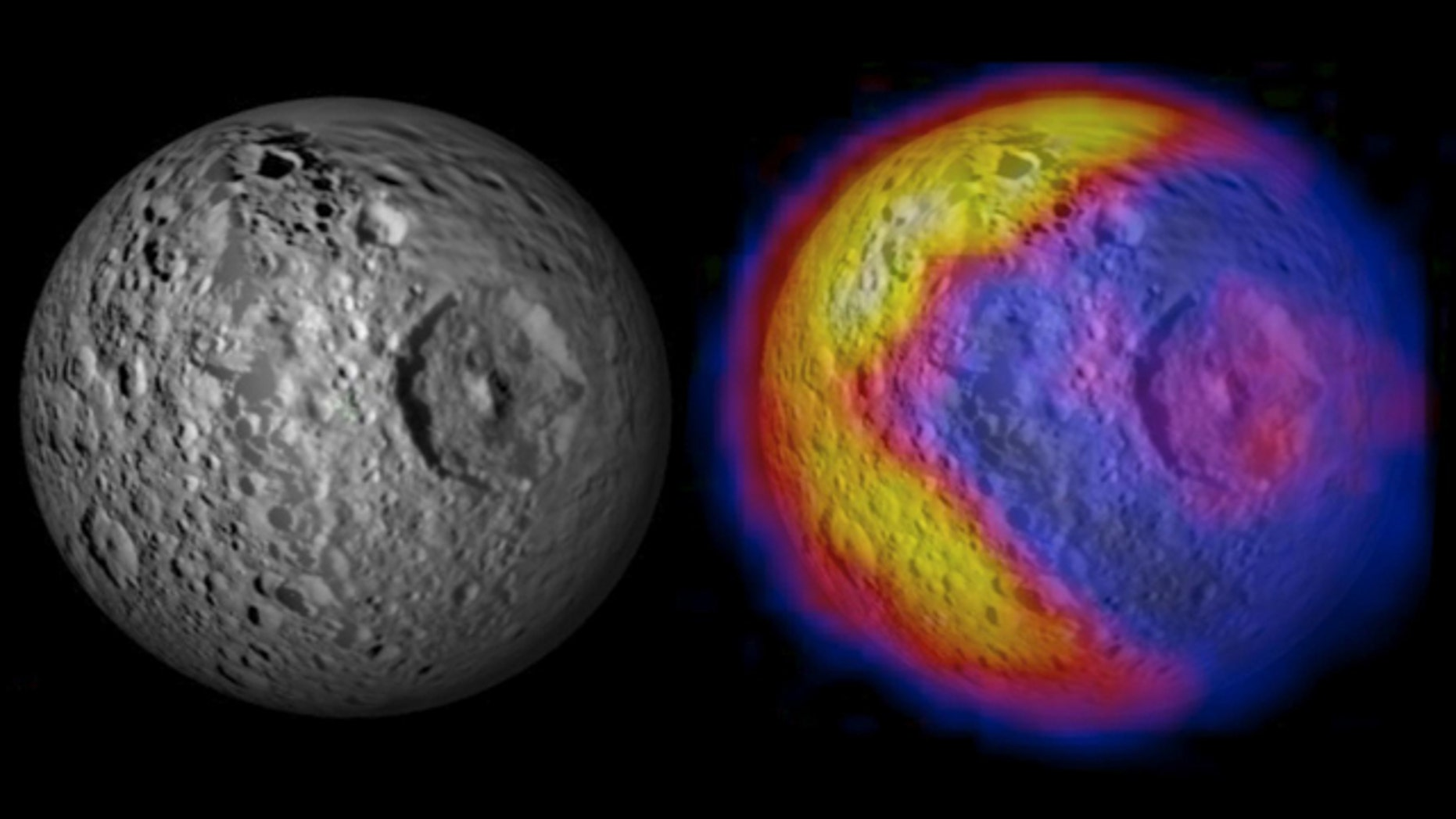 An unexpected and bizarre pattern of daytime temperatures was found on Saturn's small inner moon Mimas (246 miles in diameter).