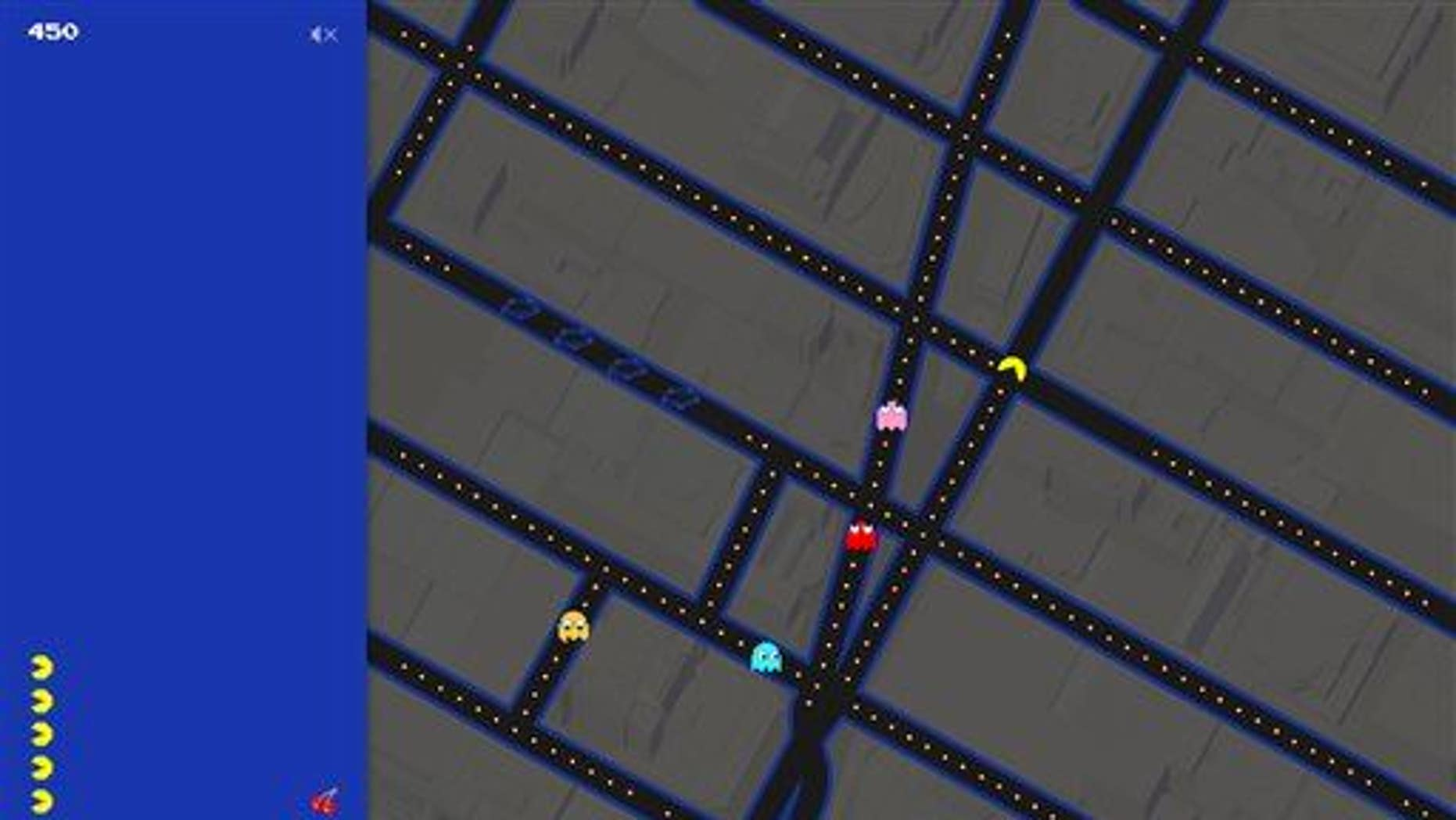 This screenshot shows the Times Square area of New York in Pac-Man form on Google Maps.
