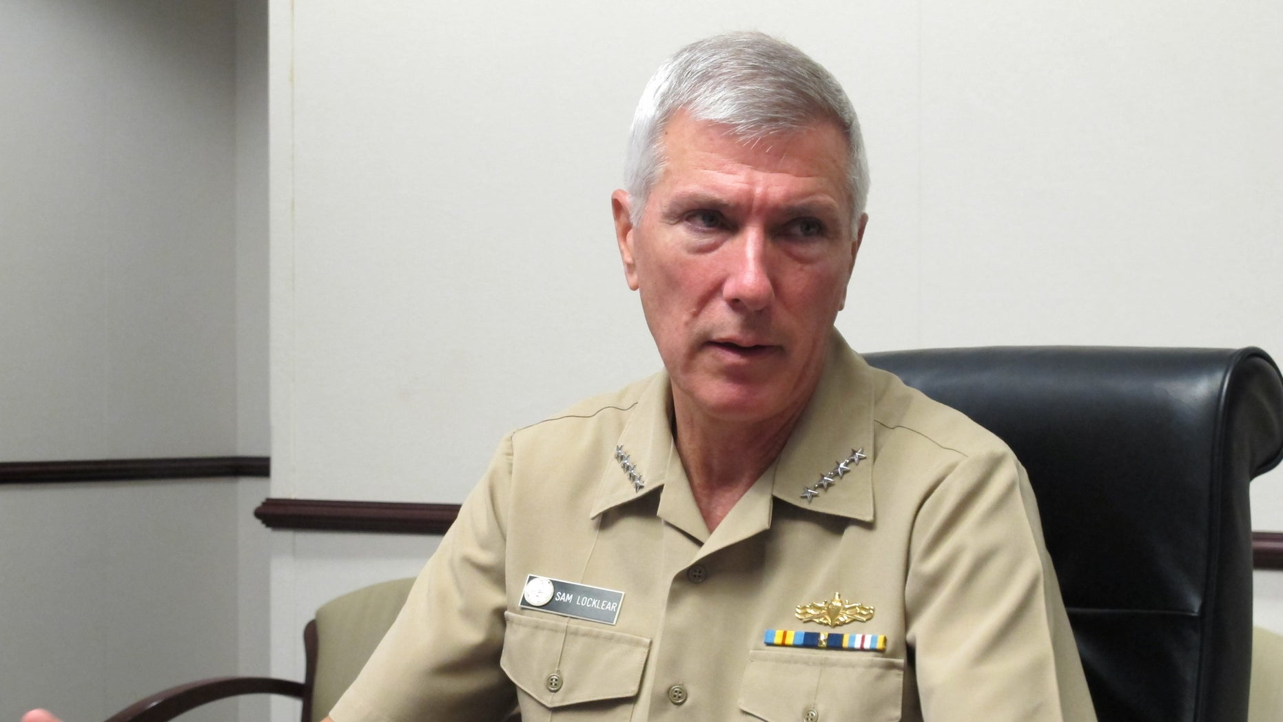 July 25, 2012: Adm. Samuel Locklear III, the U.S. Pacific Command commander, speaks to reporters at his headquarters in Camp H.M. Smith, Hawaii.