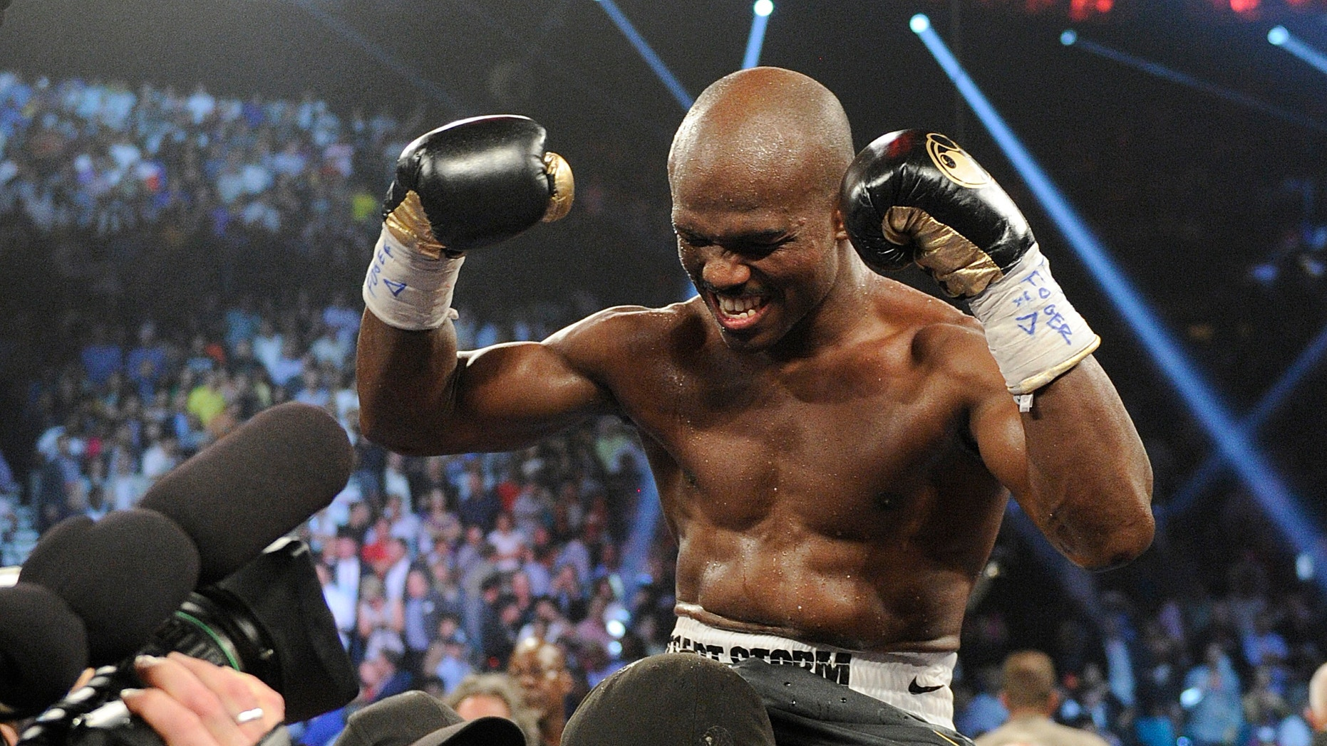 June 9, 2012: Timothy Bradley, from Palm Springs, Calif., reacts to his split decision victory over Manny Pacquiao, from the Philippines, in their WBO welterweight title fight.
