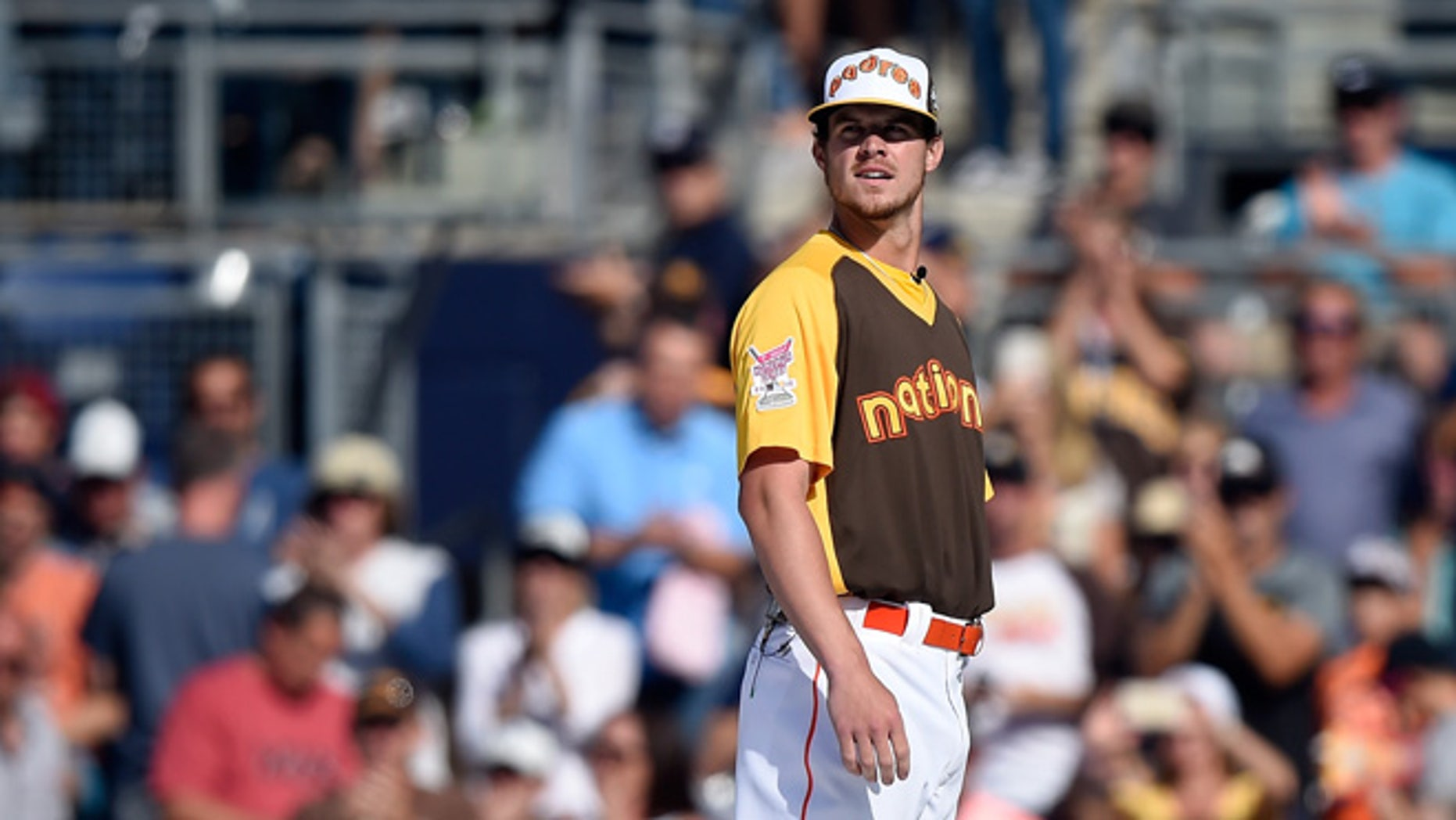 SAN DIEGO, CA - JULY 11:  Wil Myers #4 of the San Diego Padres competes in the T-Mobile Home Run Derby at PETCO Park on July 11, 2016 in San Diego, California.  (Photo by Denis Poroy/Getty Images)
