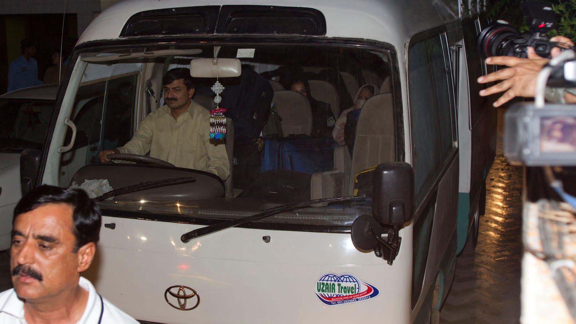 April 26, 2012: A minivan carries the family of Usama bin Laden, in Islamabad, Pakistan.