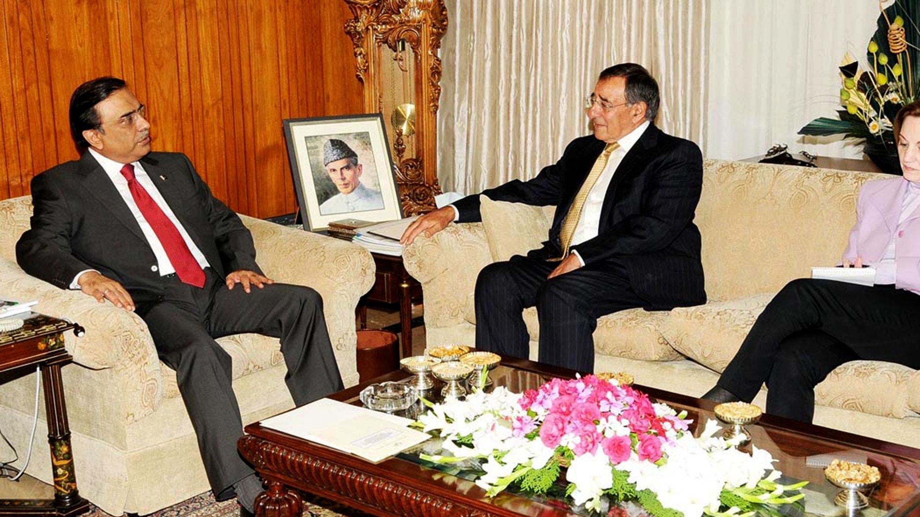 Spet. 30, 2012: Pakistan's President Asif Ali Zardari, left, meets Director of the US Central Intelligence Agency Leon Panetta in Islamabad, Pakistan.