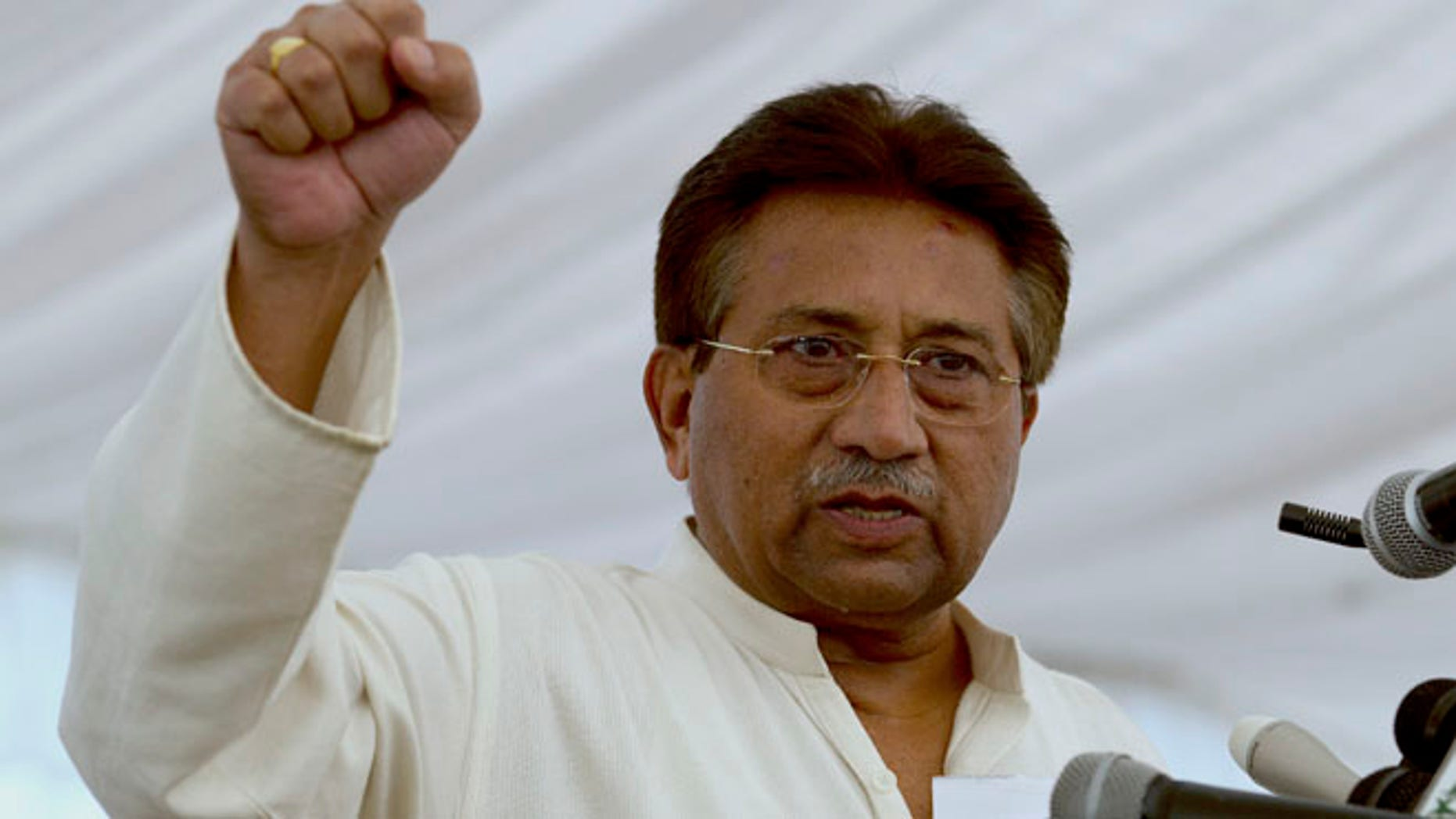 April 15, 2013: In this file photo, Pakistan's former President and military ruler Pervez Musharraf addresses his party supporters at his house in Islamabad, Pakistan.