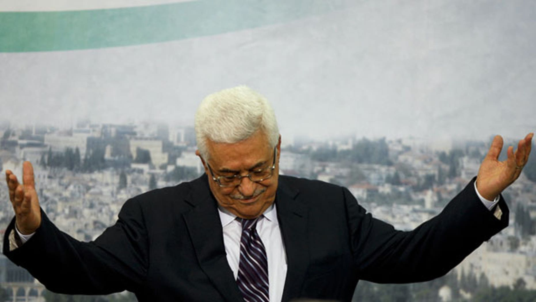 September 16: Palestinian President Mahmoud Abbas gestures and the end of his speech in the West Bank city of Ramallah, Abbas said Friday he would ask the Security Council next week to accept the Palestinians as full members at the United Nations.