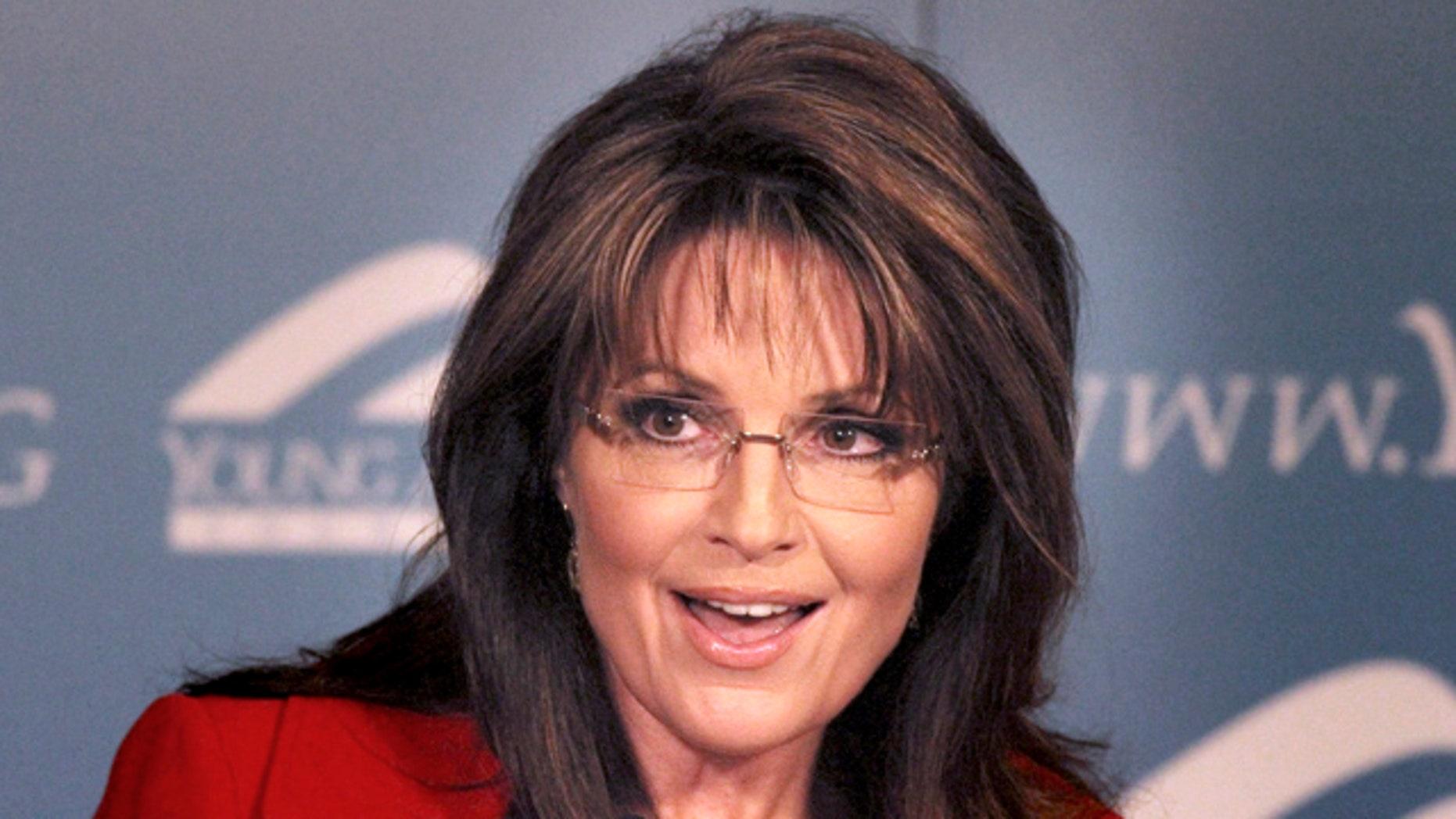 In this Feb. 4, 2011 file photo, former Republican vice presidential candidate and Alaskan Gov. Sarah Palin speaks at the Reagan Ranch Center in Santa Barbara, Calif.