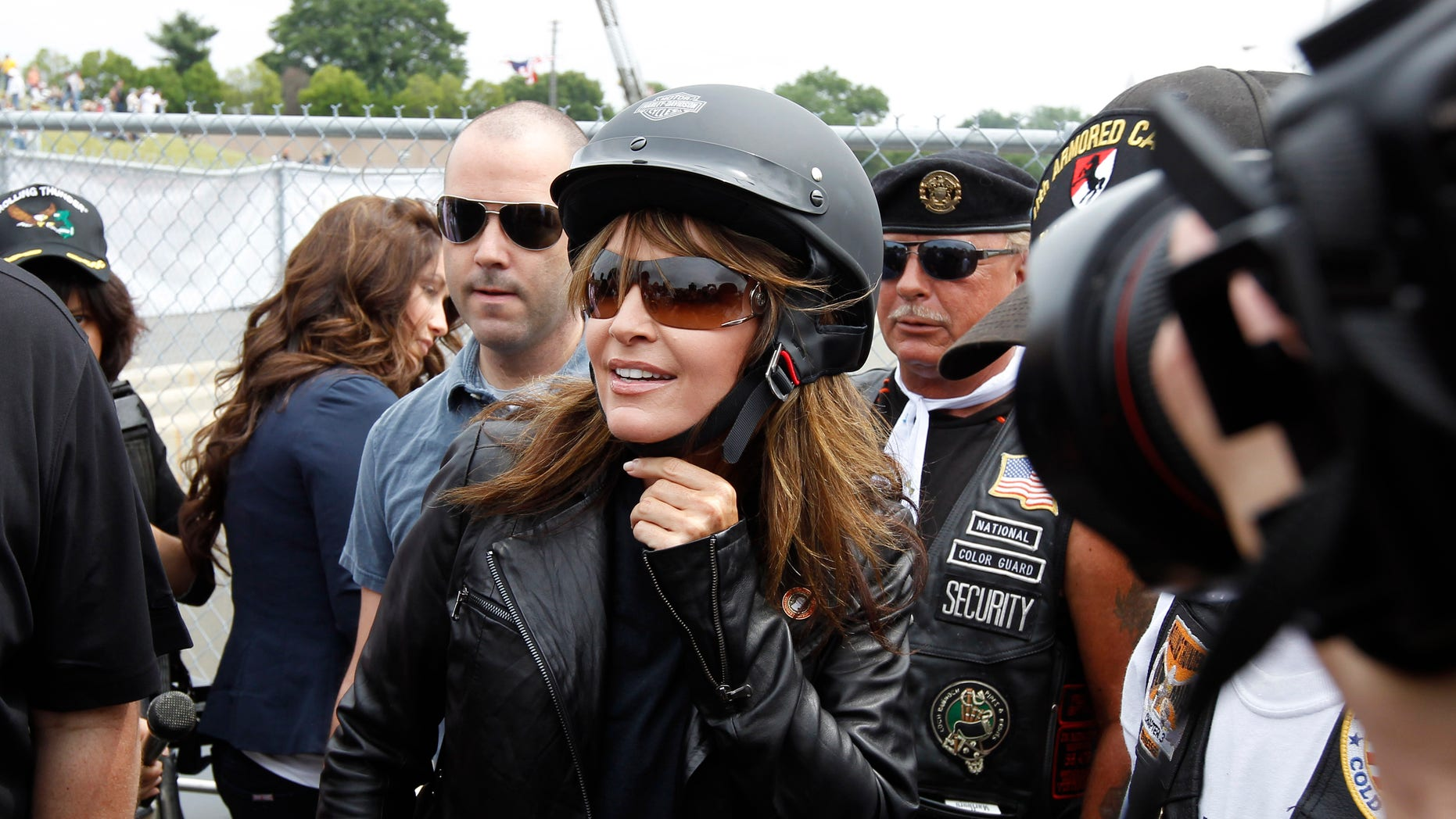 Sunday: Sarah Palin arrives at the beginning of Rolling Thunder at the Pentagon during the Memorial Day weekend in Washington.