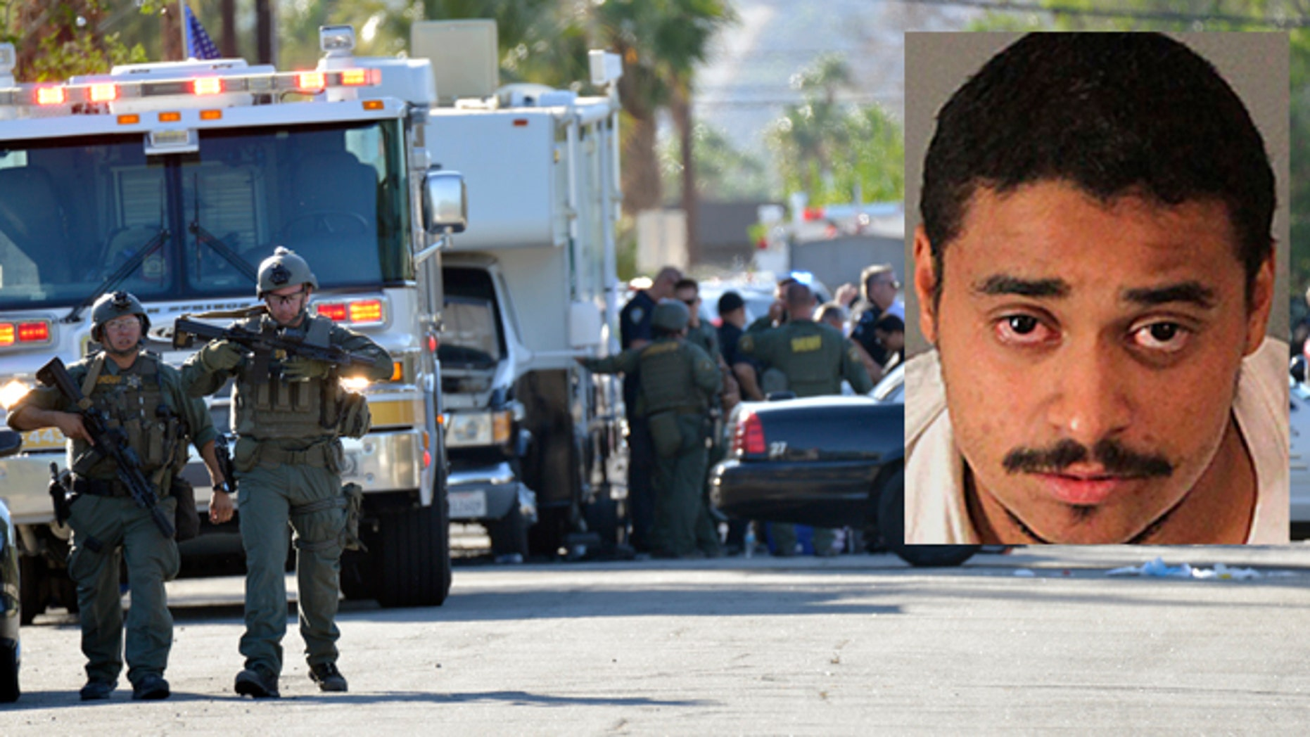 Riverside Country Sheriffs Deputies stand near the scene of a shooting in Palm Springs, Calif., Saturday, Oct. 8, 2016. Insert: Photo released by the Riverside Country Sheriff's Department shows suspect John Felix. (AP/Riverside County Sheriff's Department via AP)