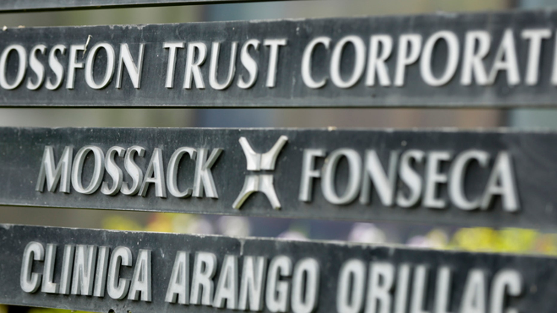 A marquee of the Arango Orillac Building lists the Mossack Fonseca law firm, in Panama City, Monday, April 4, 2016.