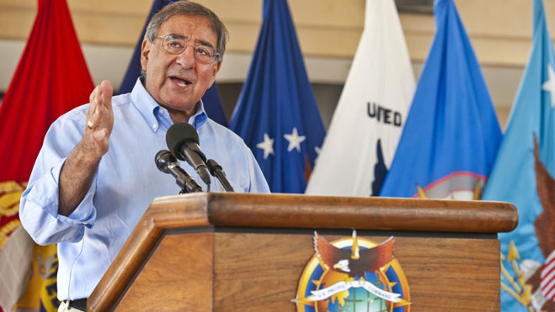 May 31, 2012: Secretary of Defense Leon E. Panetta speaks to service members and civilian employees of at Camp Smith, Hawaii.
