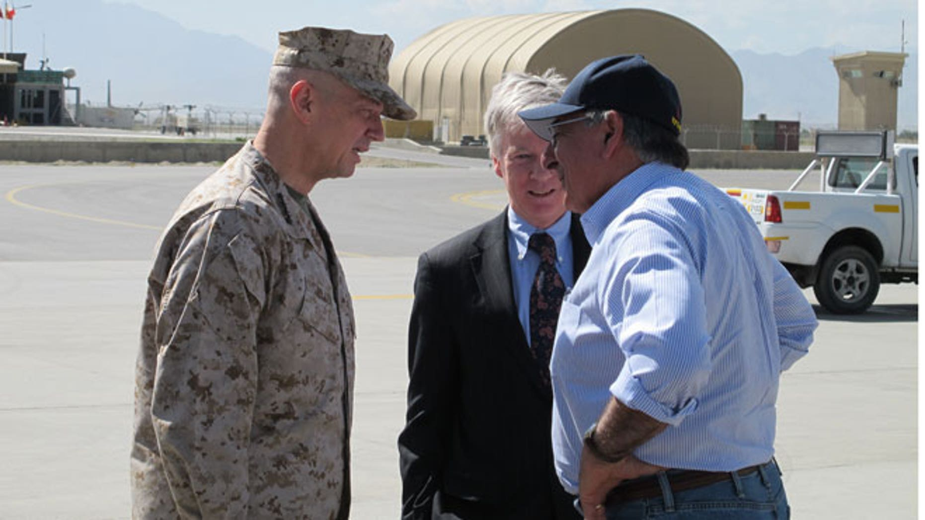 June 7, 2012: Defense Secretary Leon Panetta is greeted by ISAF Commander Gen. John Allen and U.S. Ambassador to Afghanistan, Ryan Crocker in Kabul, Afghanistan.