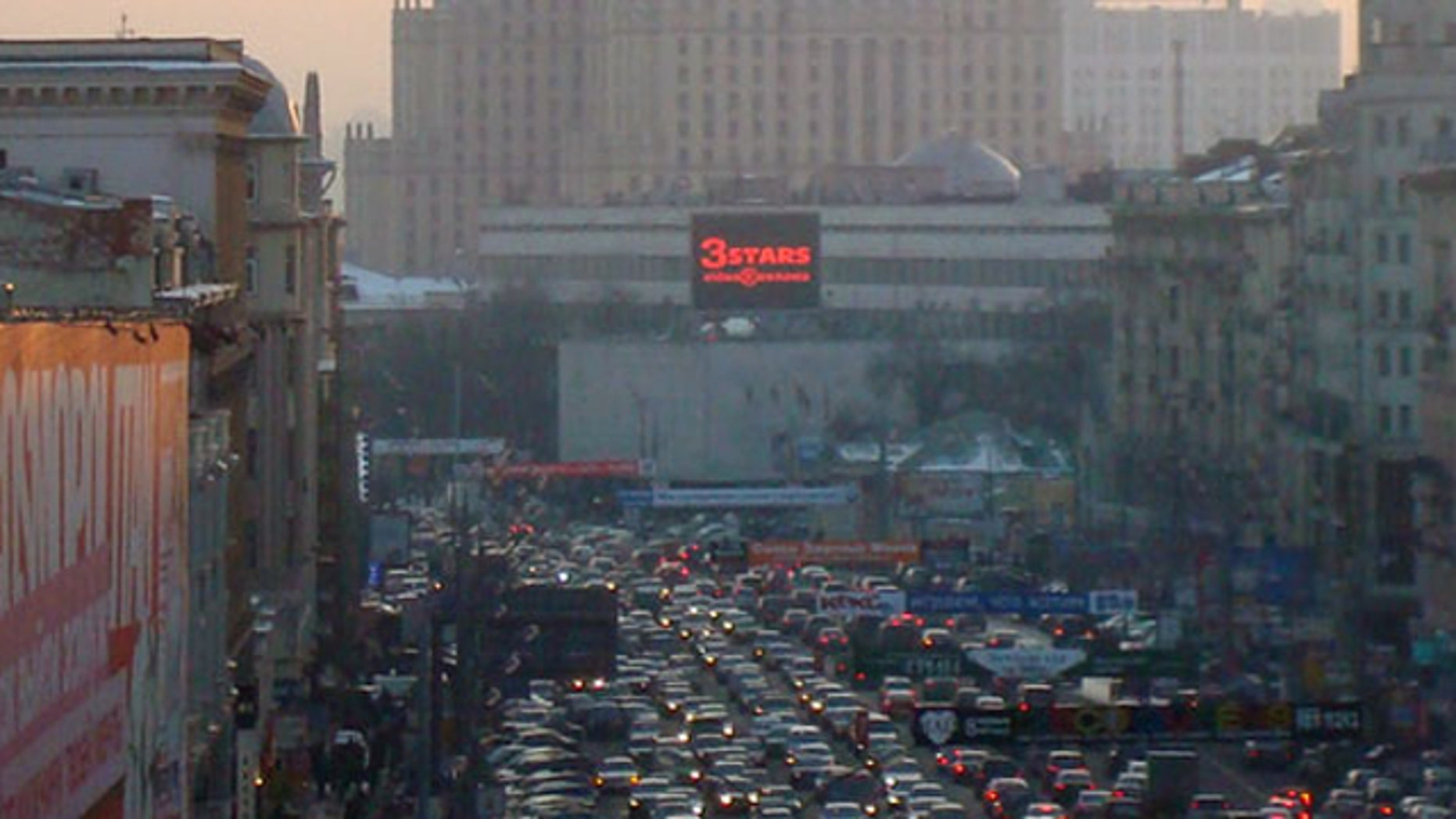 Panno.ru operates a network of billboards such as this one around Moscow. Hackers locked traffic in the city on Friday by posting a porongraphic clip to one billboard.