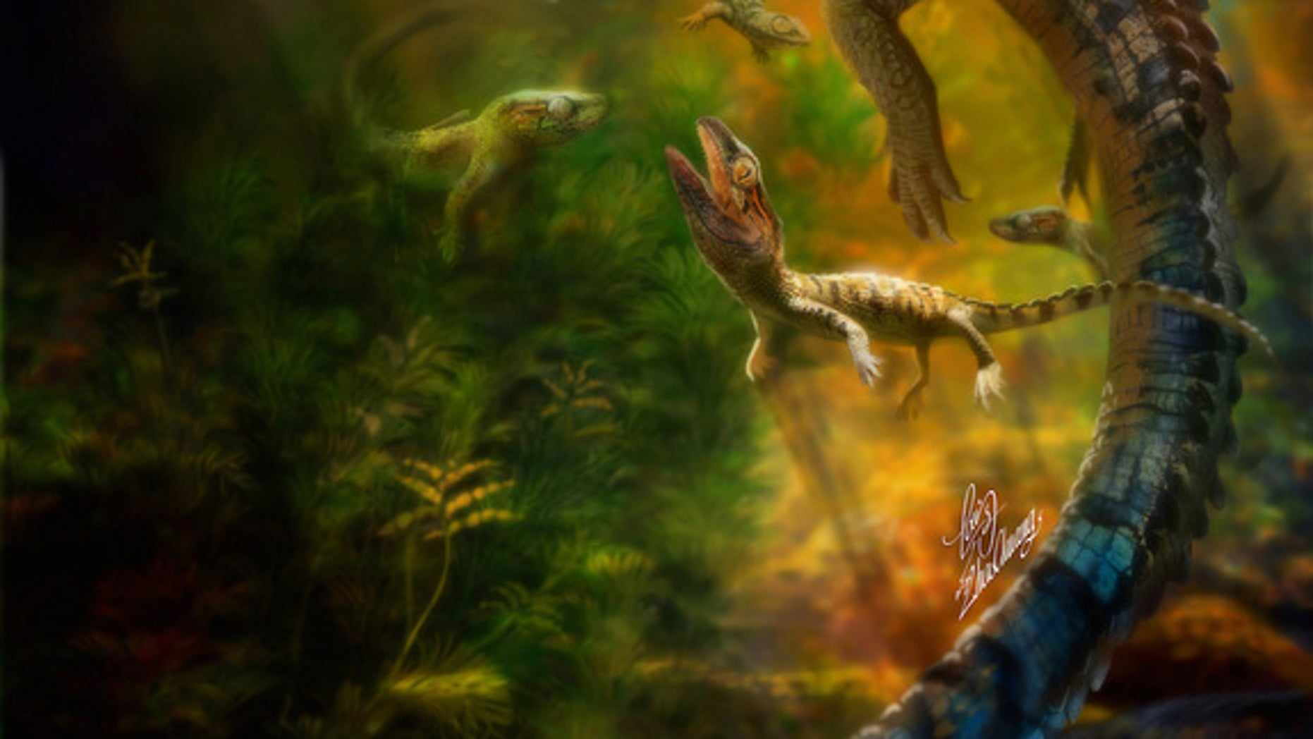 An artistic interpretation of an adult philydrosaurus caring for its young.