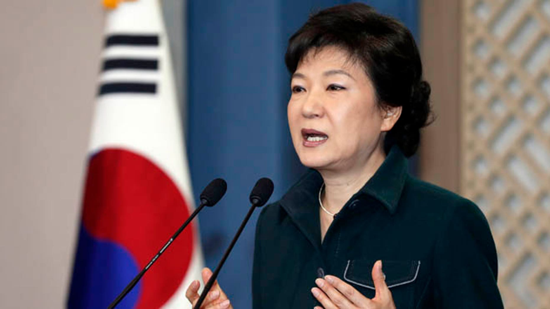 March 4, 2013: South Korea's President Park Geun-hye speaks to the nation at the presidential Blue House in Seoul.