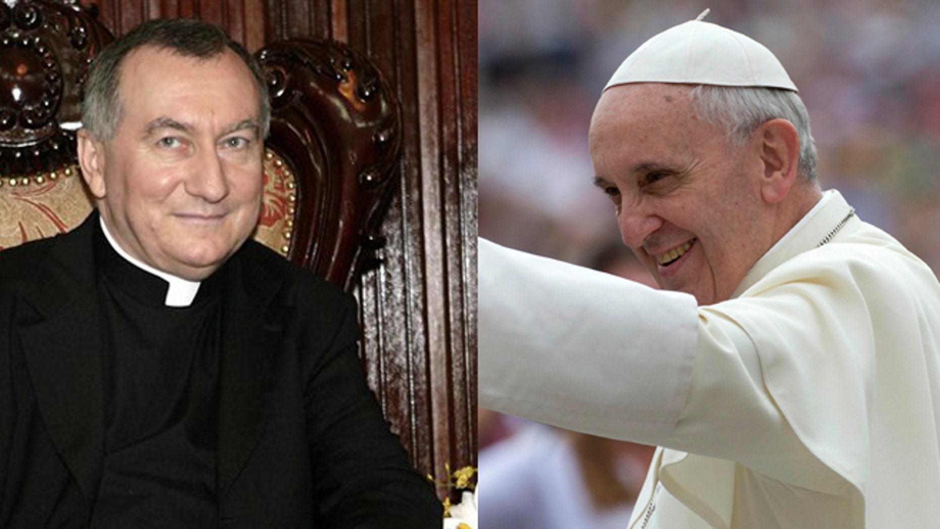 Vatican's Secretary of State Pietro Parolin (left) and Pope Francis (right).