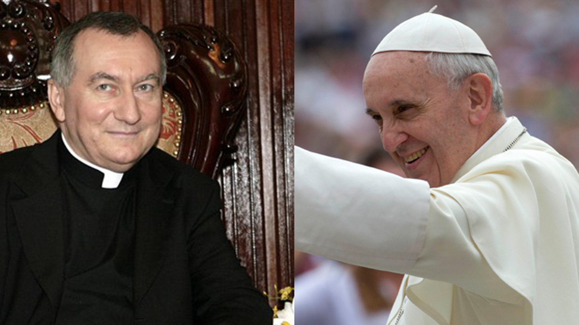 Vatican's Secretary of State Pietro Parolin (left) and Pope Francis (right).