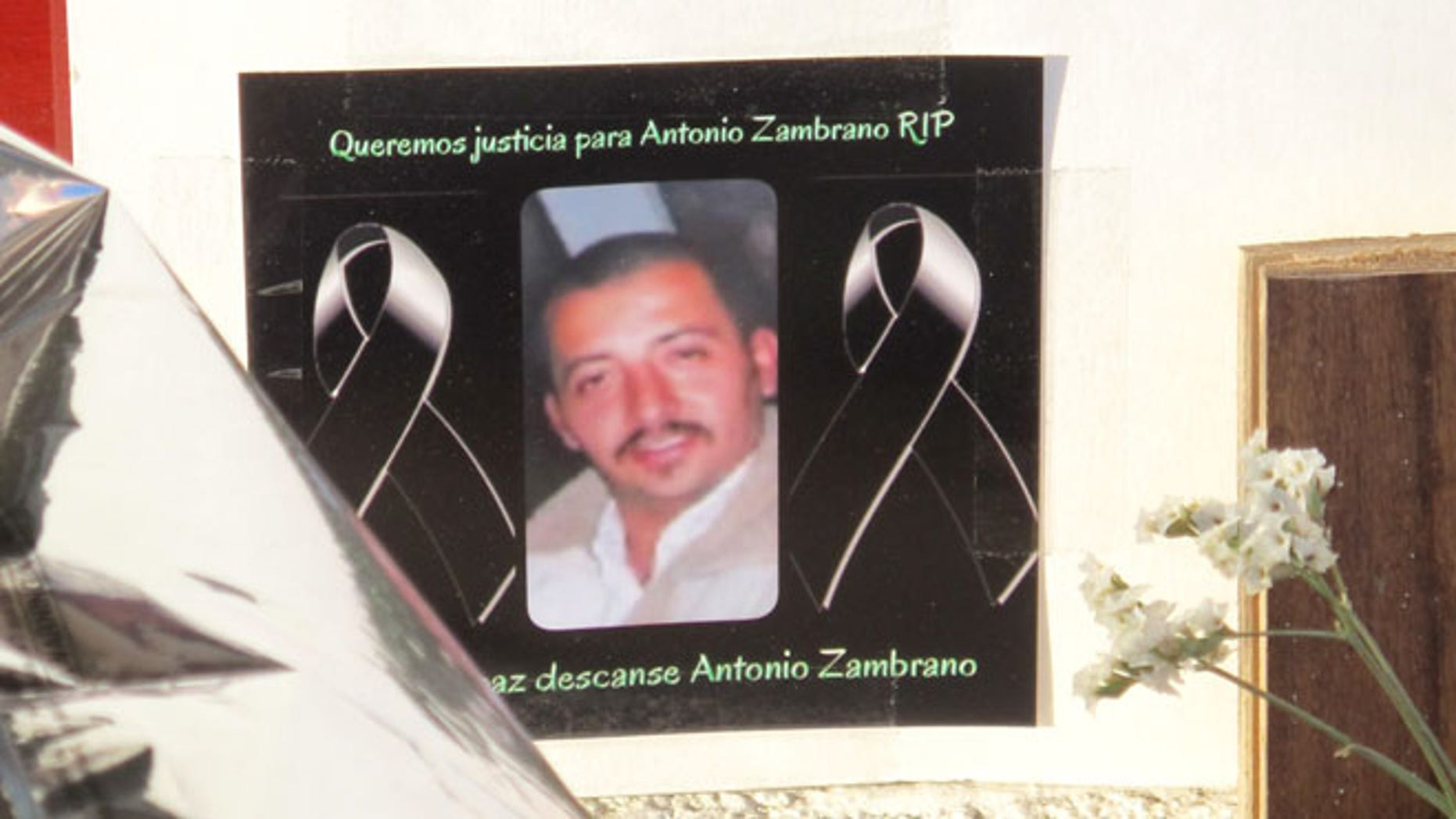 A photo of Antonio Zambrano-Montes displayed at a memorial in Pasco, Wash. on Feb. 19, 2015.