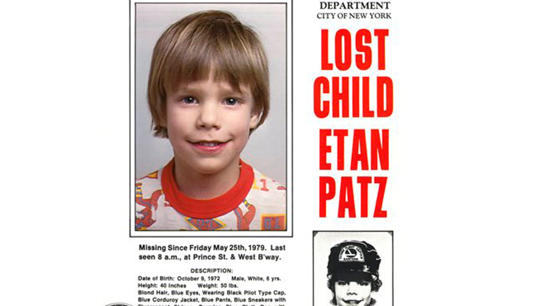 This undated file image provided by Stanley K. Patz shows a flyer distributed by the New York Police Department of Patz's son Etan who disappeared in New York on May 25, 1979.