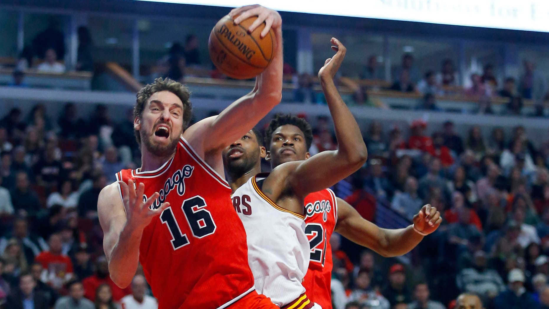 Chicago Bulls center Pau Gasol during an NBA game in Chicago on April 9, 2016.