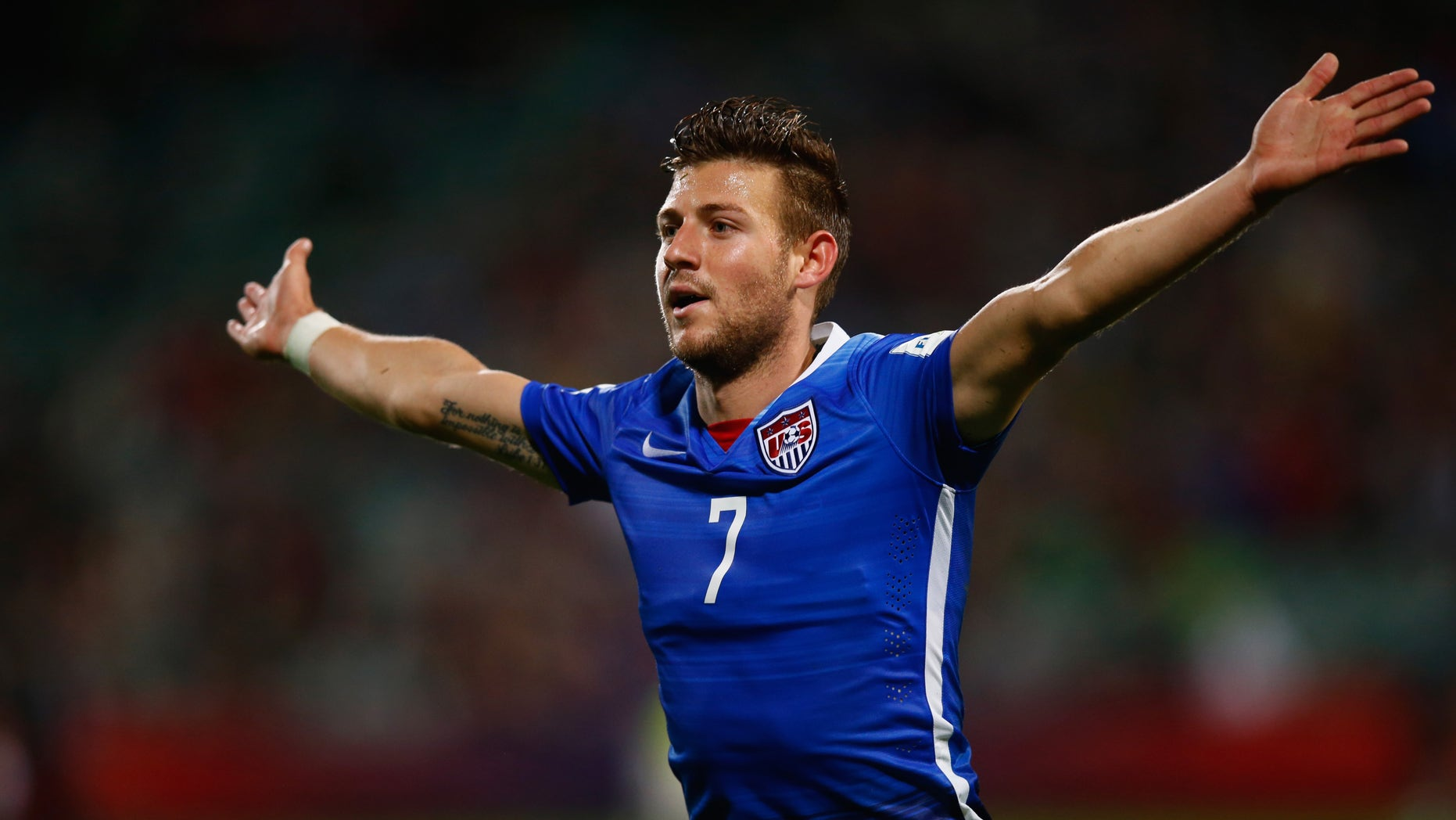 AUCKLAND, NEW ZEALAND - JUNE 02:  Paul Arriola of the USA celebrates his goal during the FIFA U-20 World Cup New Zealand 2015 Group A match between New Zealand and the United States at North Harbour Stadium on June 2, 2015 in Auckland, New Zealand.  (Photo by Phil Walter/Getty Images)