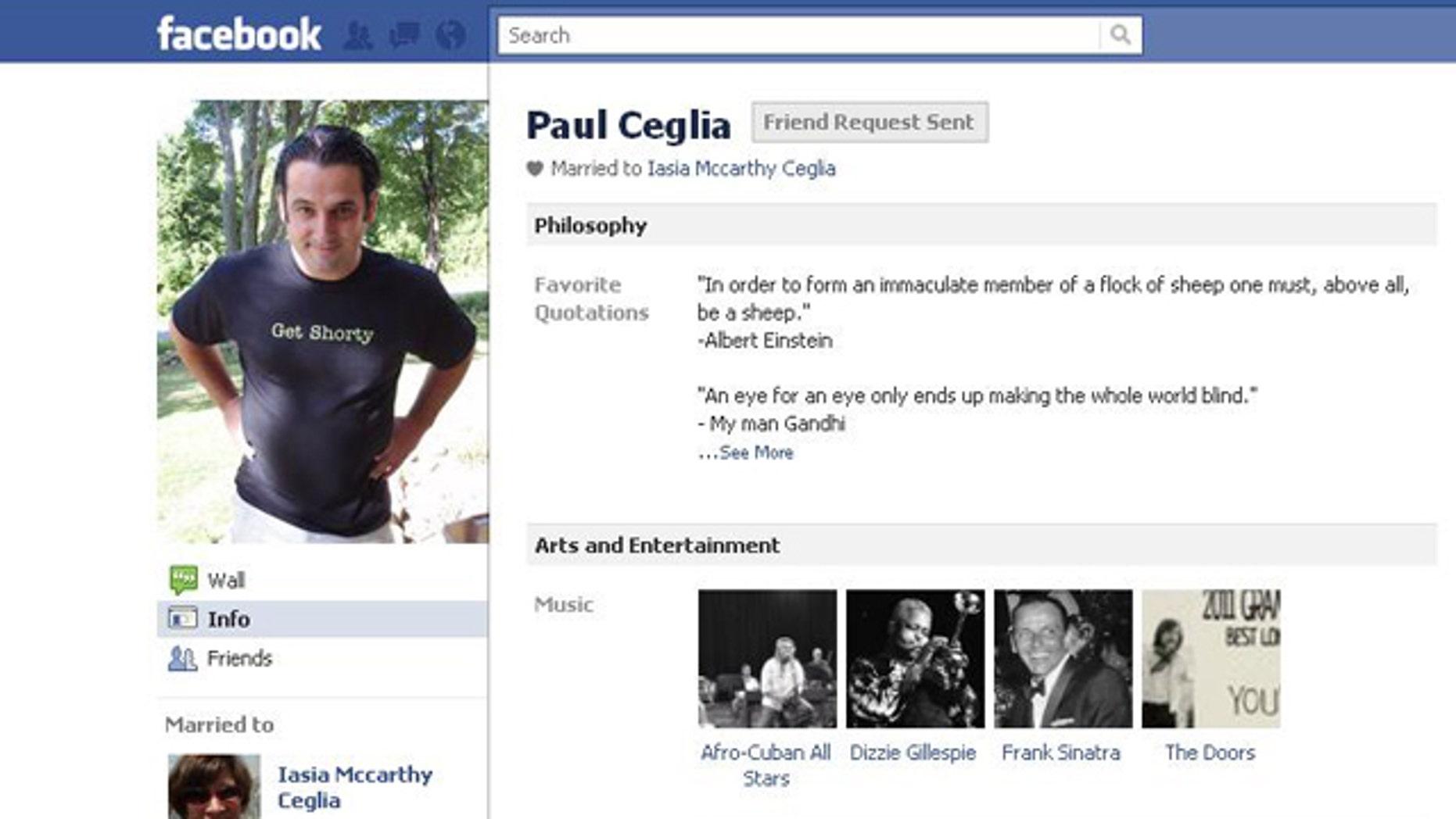 A screenshot of Ceglia's Facebook page.
