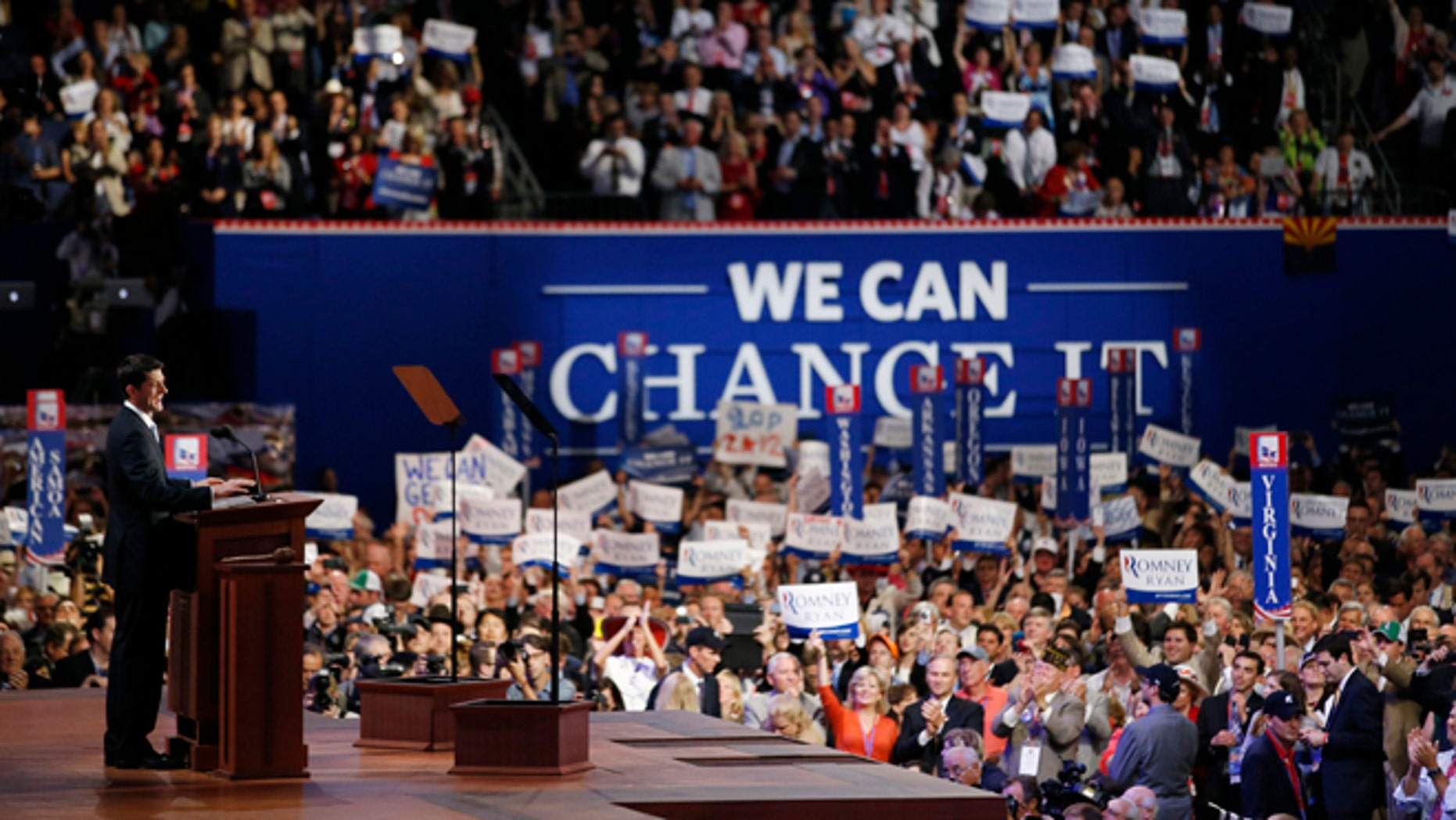 Aug. 29, 2012: Republican vice presidential nominee Paul Ryan addresses the Republican National Convention in Tampa, Fla.