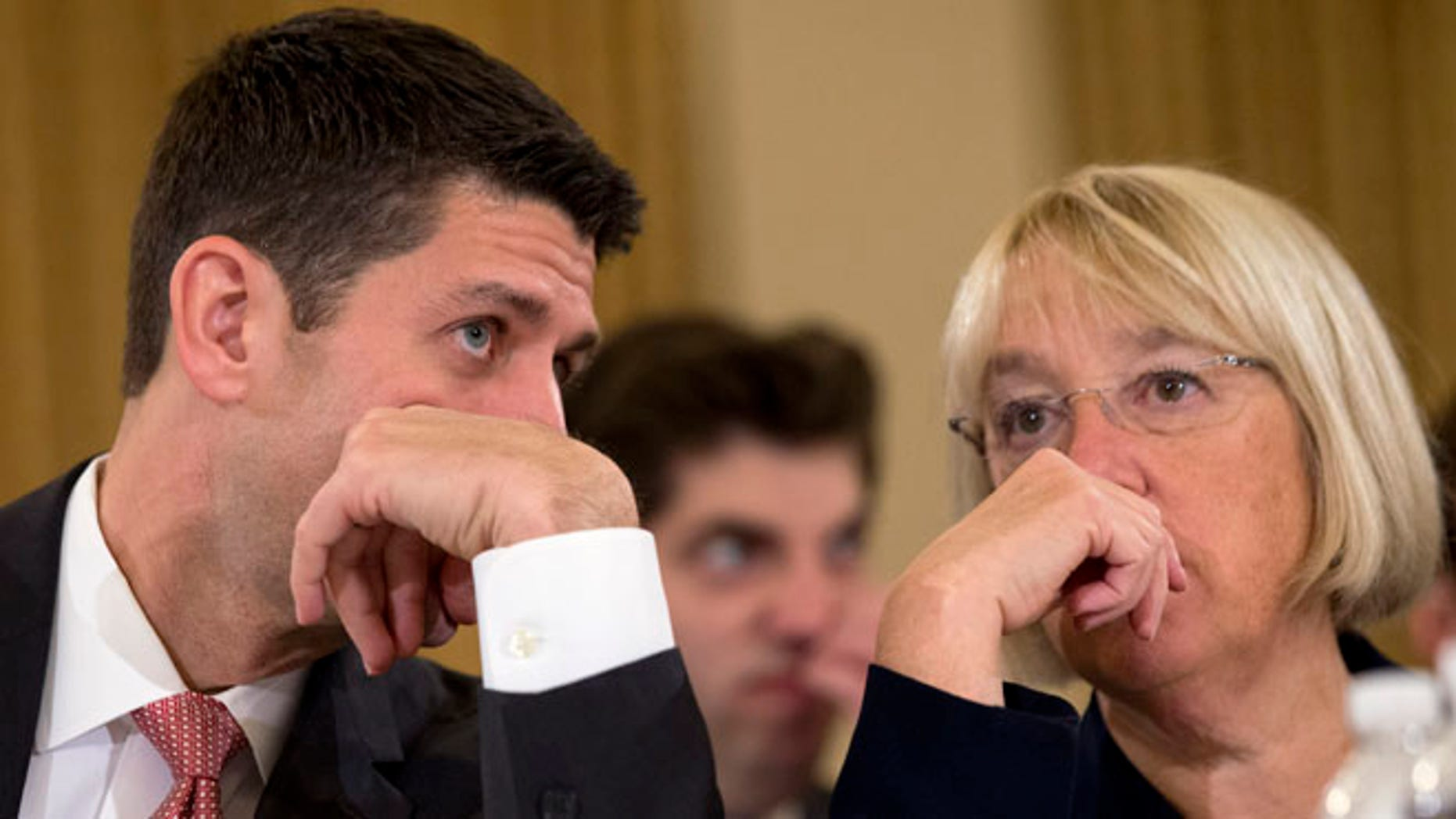 Nov. 13, 2013 file photo of House Budget Committee Chairman Rep. Paul Ryan, R-Wis., left, speaking with Senate Budget Committee Chair Sen. Patty Murray, D-Wash. on Capitol Hill in Washington.
