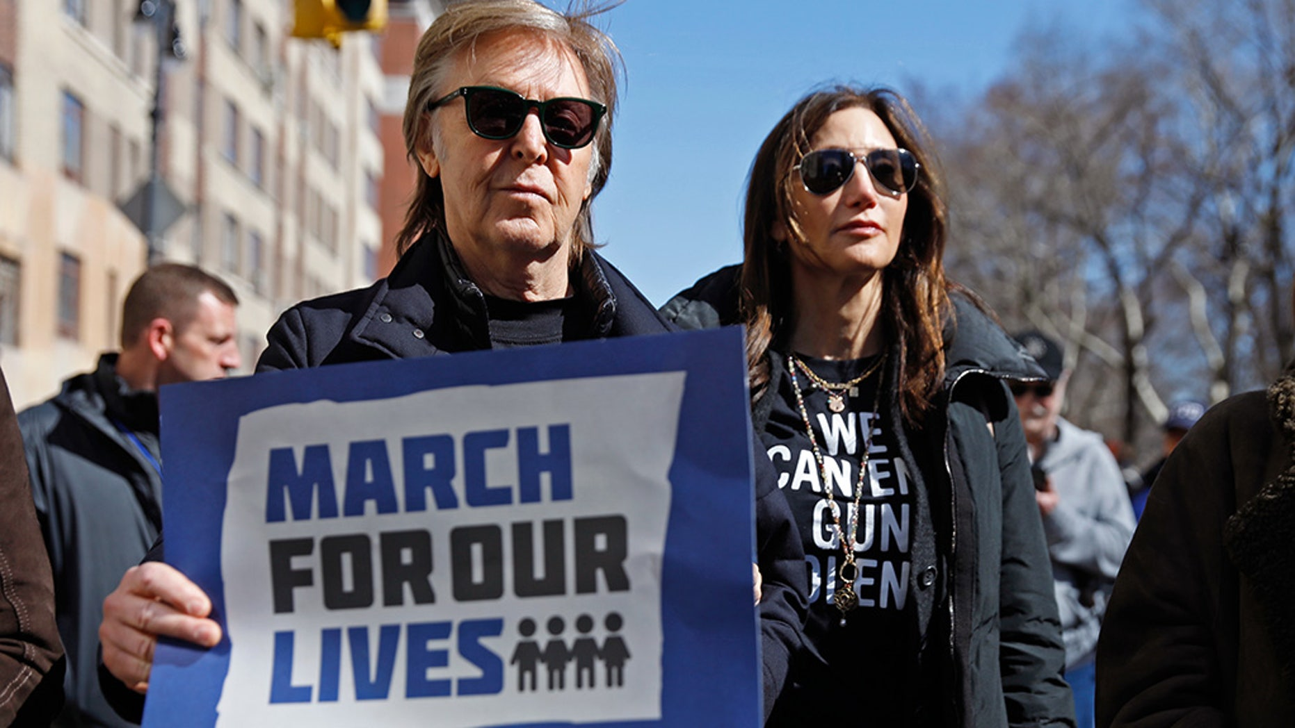 "Former Beatle Sir Paul McCartney joins the rally during a ""March For Our Lives"" demonstration demanding gun control in New York City. March 24, 2018."