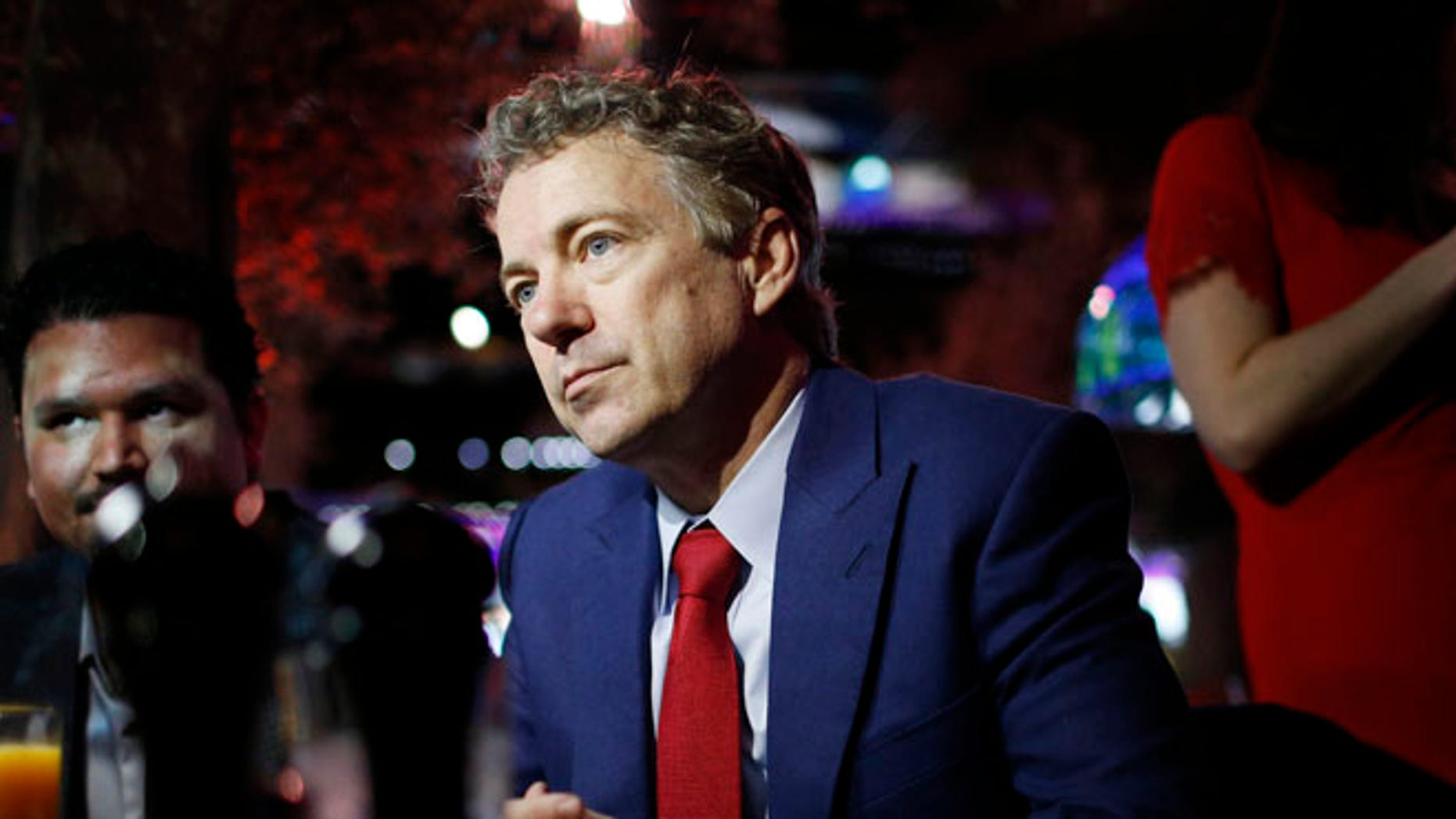 FILE: Jan. 16, 2015: Sen. Rand Paul, R-Ky., speaks with people at a restaurant in Las Vegas, Nevada.
