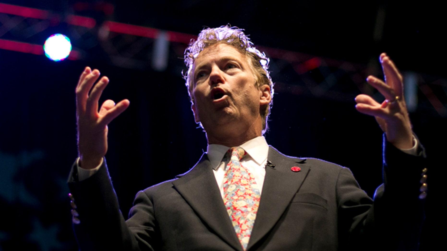 April 26, 2014: Sen. Rand Paul, R-Kentucky, speaks at the Maine Republican Convention, Bangor, Maine.