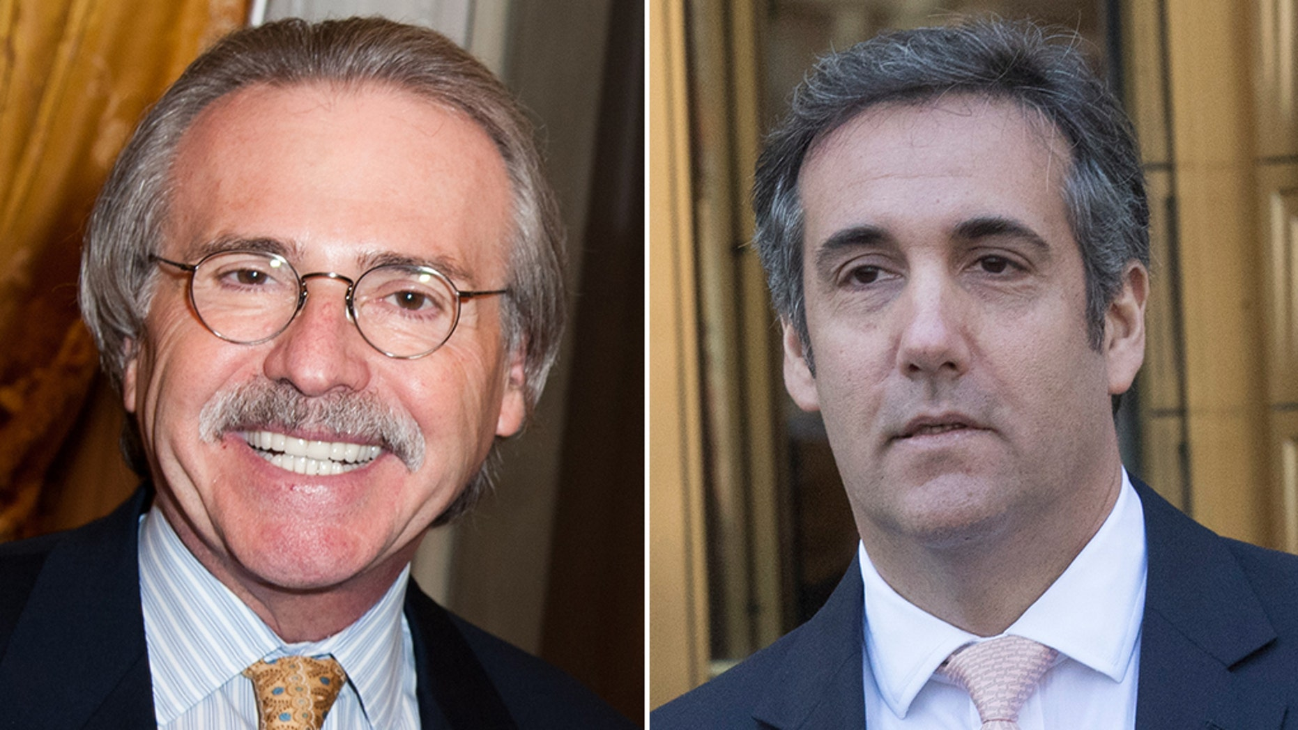David Pecker, chairman and chief executive of National Enquirer publisher American Media (left) and Michael Cohen (right), former personal attorney for President Trump.
