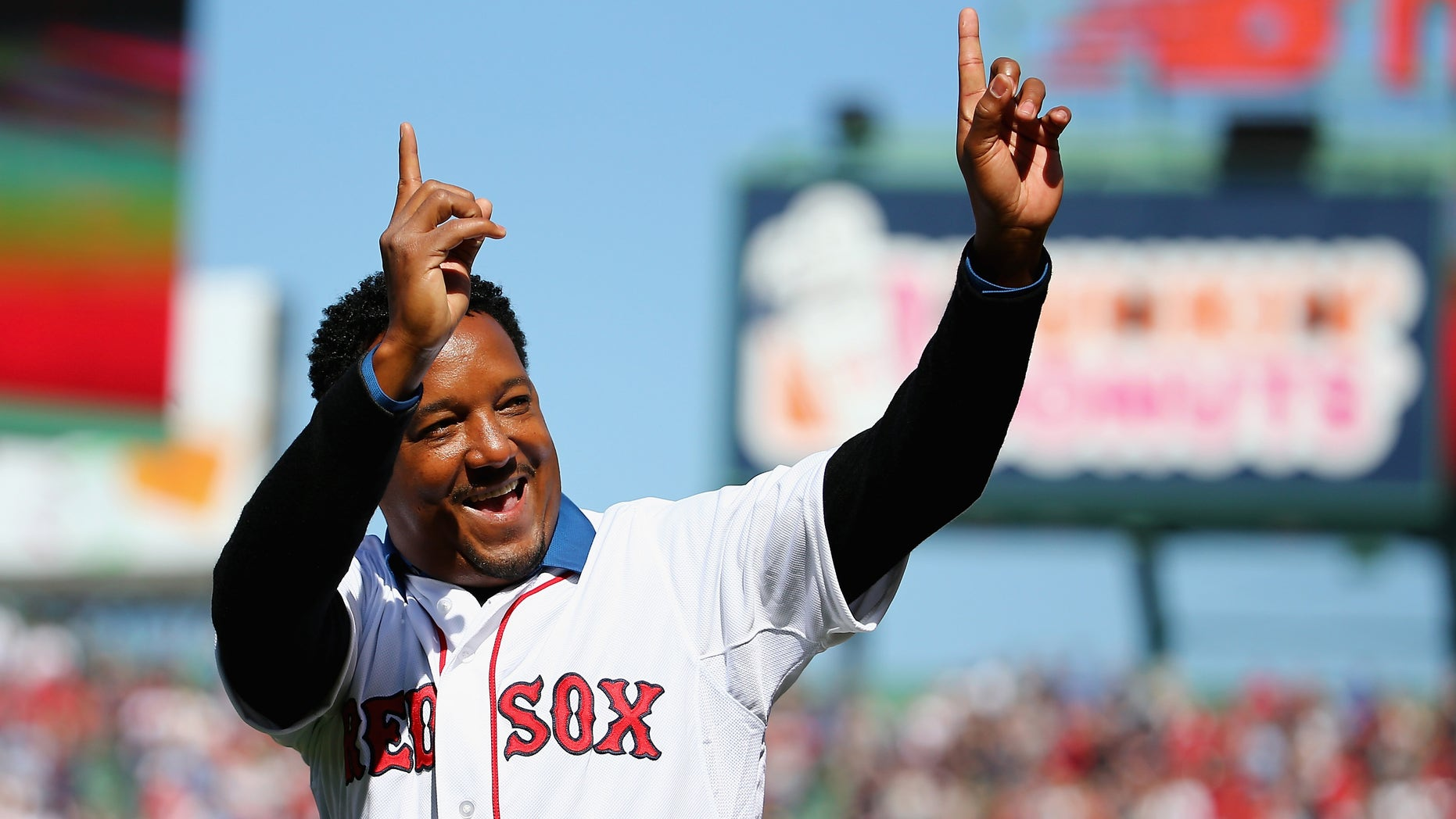 BOSTON, MA - APRIL 13:  Pedro Martinez waves to the crowd at Fenway Park before the game between the Boston Red Sox and the Washington Nationals on April 13, 2015 in Boston, Massachusetts.  (Photo by Maddie Meyer/Getty Images)