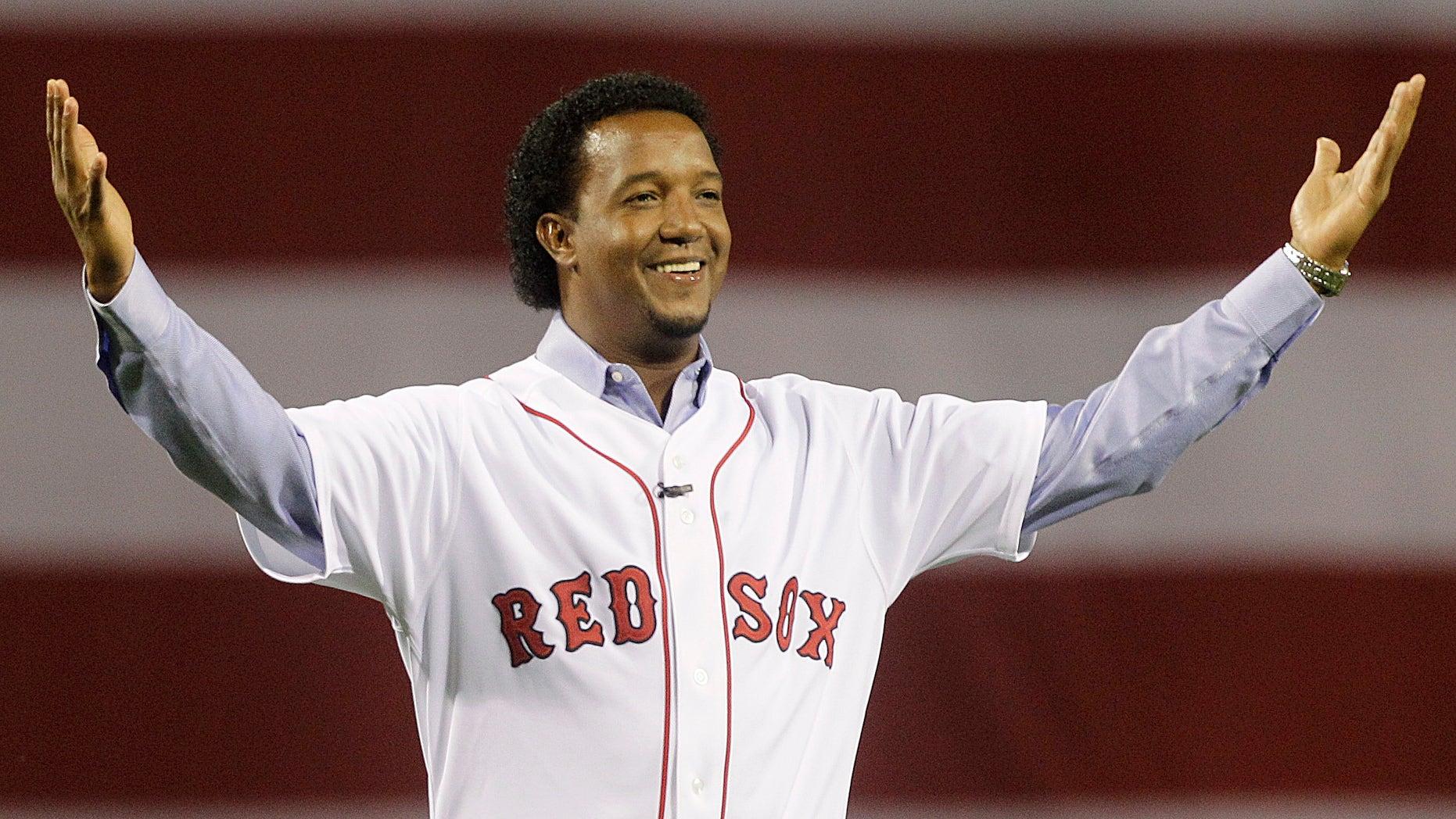 Pedro Martinez greets the Boston crowd on April 4, 2010.