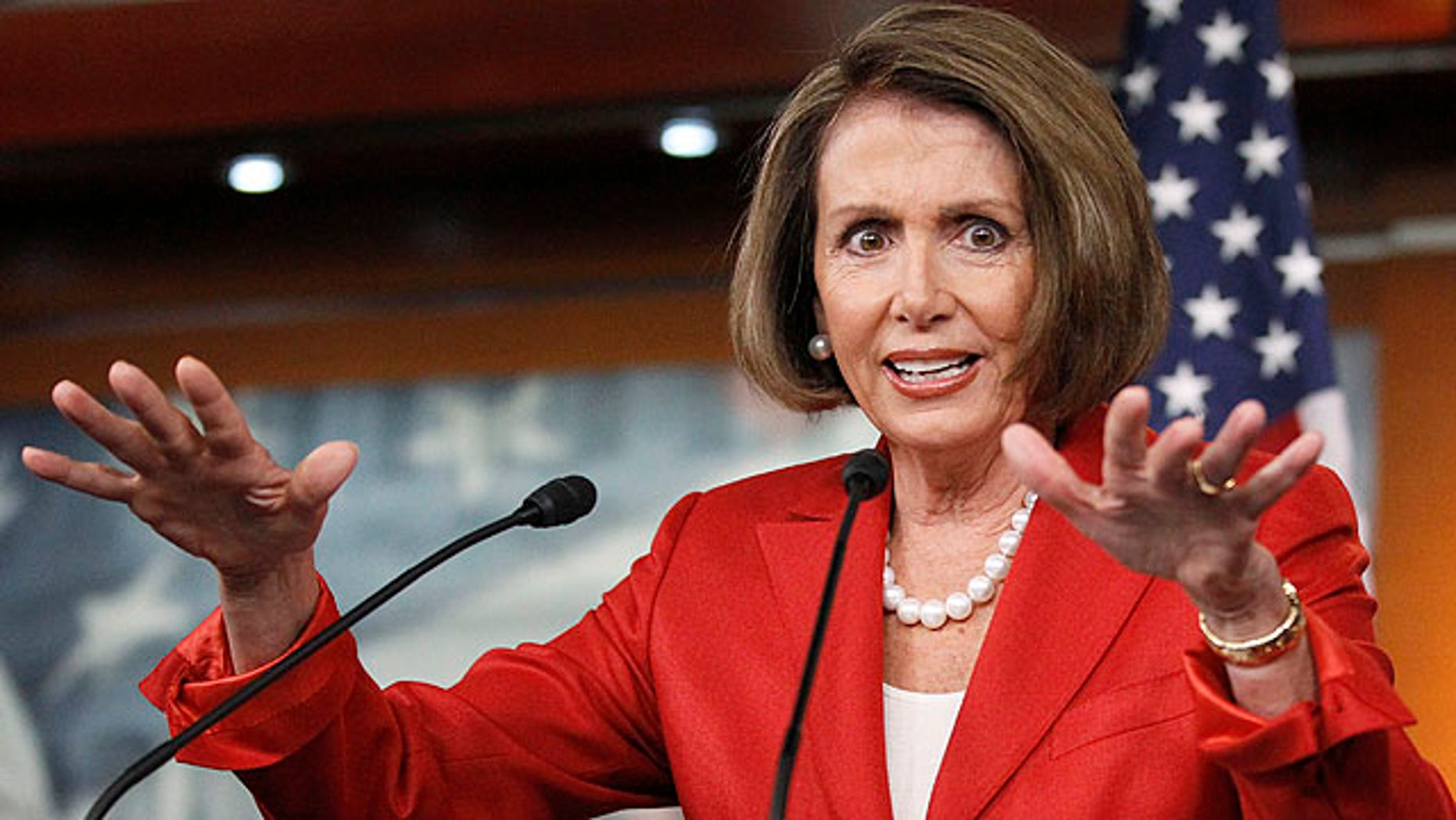Sept. 24, 2010:House Speaker Nancy Pelosi gestures during a news conference on Capitol Hill (AP).