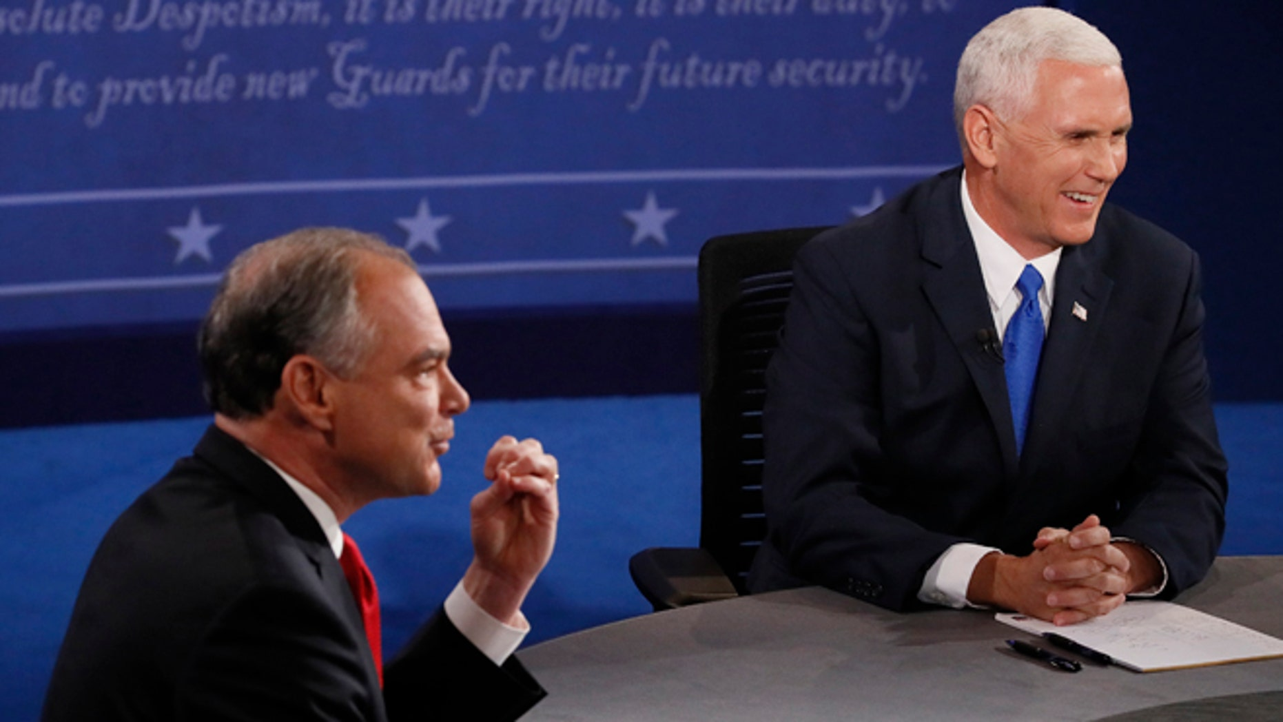 Republican vice-presidential nominee Gov. Mike Pence, right, and Democratic vice-presidential nominee Sen. Tim Kaine debate during the vice-presidential debate at Longwood University in Farmville, Va., Tuesday, Oct. 4, 2016. (Andrew Gombert/Pool via AP)